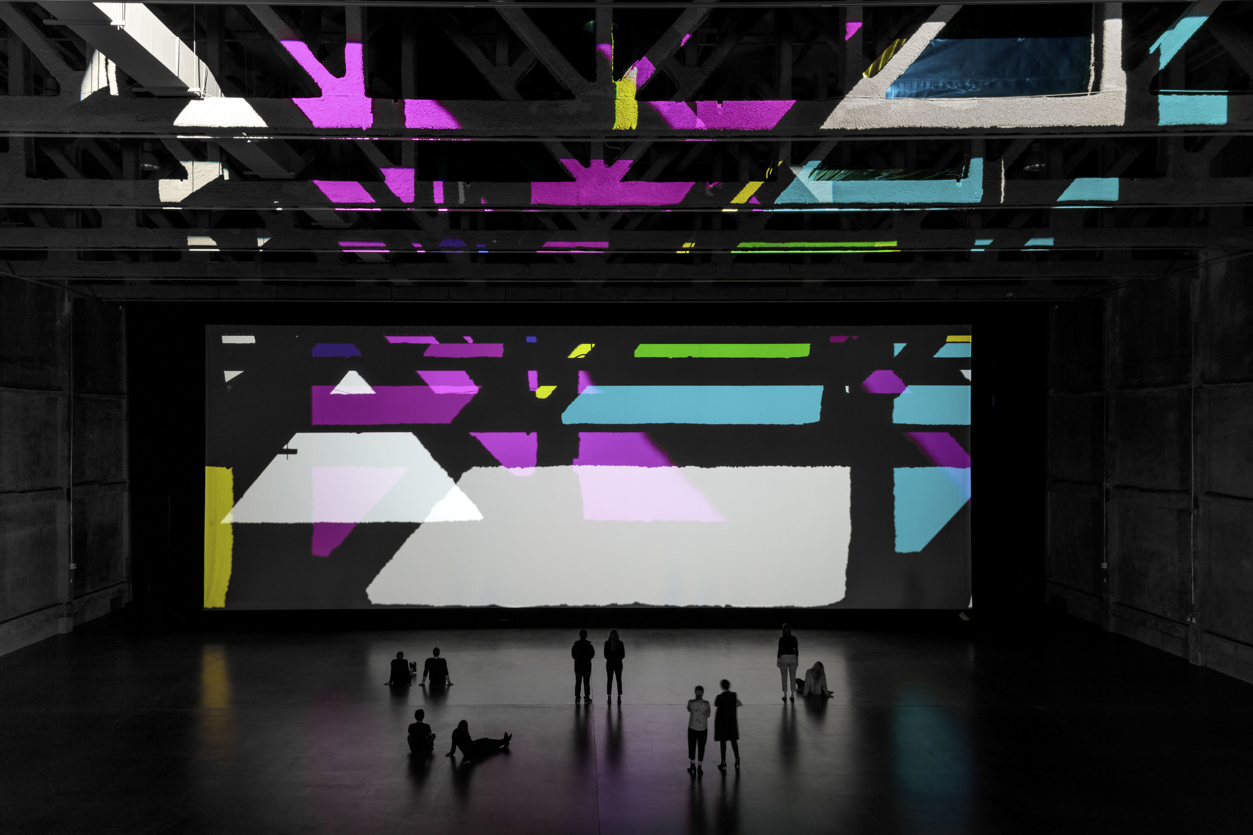 """OLAFUR ELIASSON. """"REALITY PROJECTOR"""" (2018). LIGHT AND SOUND INSTALLATION. COURTESY MARCIANO ART FOUNDATION. PHOTOGRAPH BY JOSHUA WHITE / JWPICTURES.COM."""