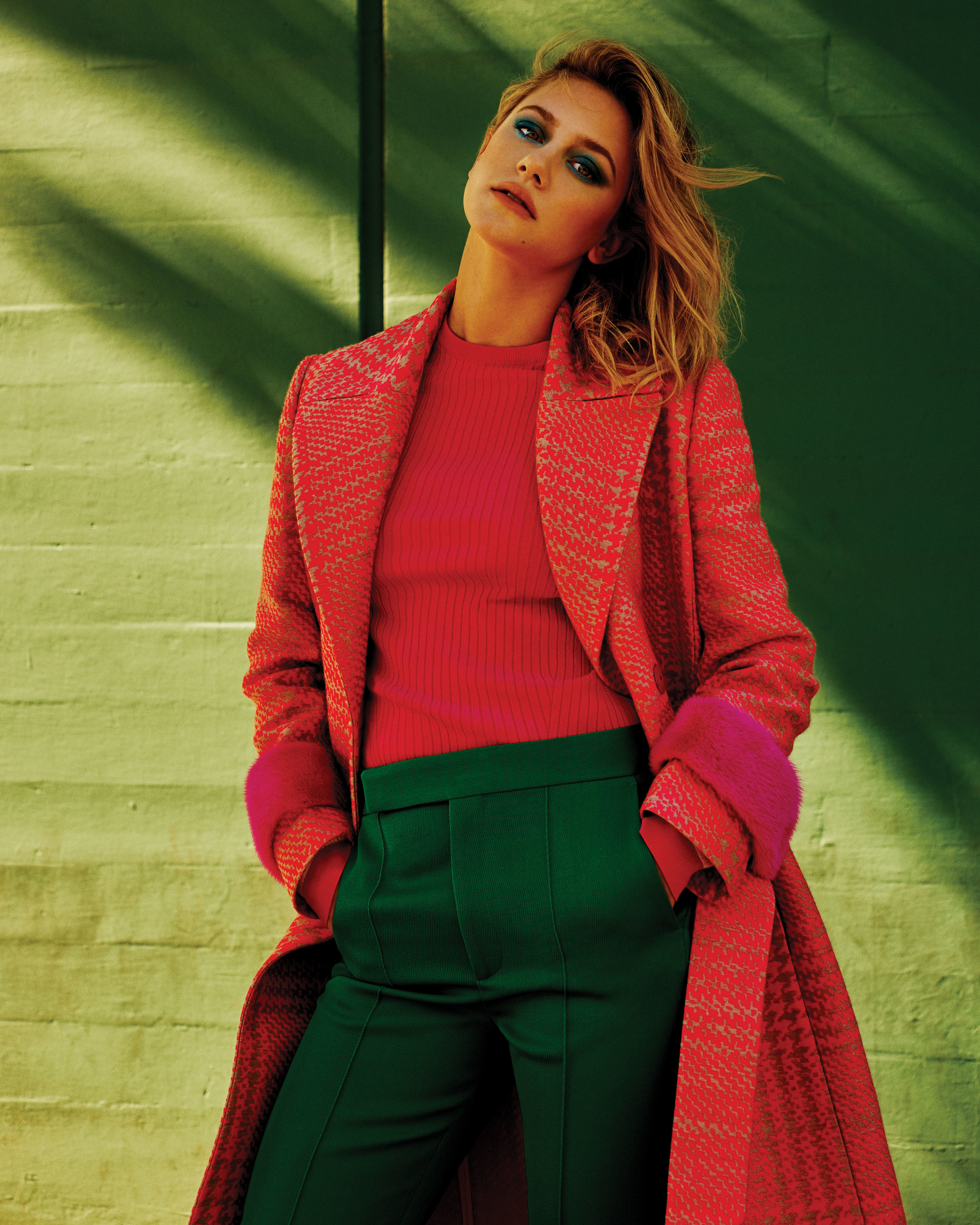 Lili Reinhart  | all images shot by Clay Gardner | Fashion Credits:  FENDI  available at Barneys New York coat,  VALENTINO  available at Barneys New York top,  CÉLINE  available at Barneys New York pants.