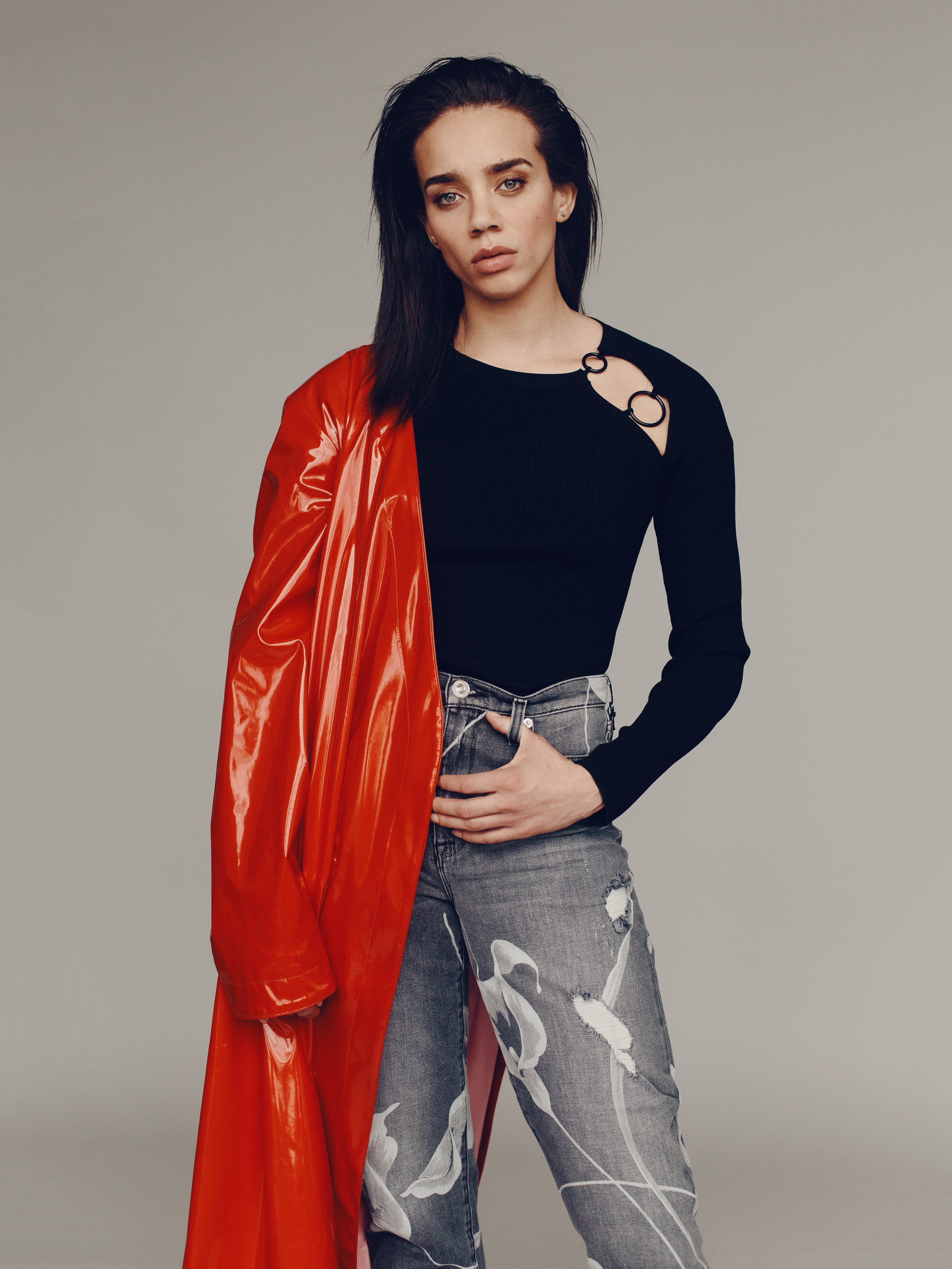 ATTICO  available at Matchesfashion.com coat,  CUSHNIE ET OCHS  sweater,  HUDSON JEANS  jeans.