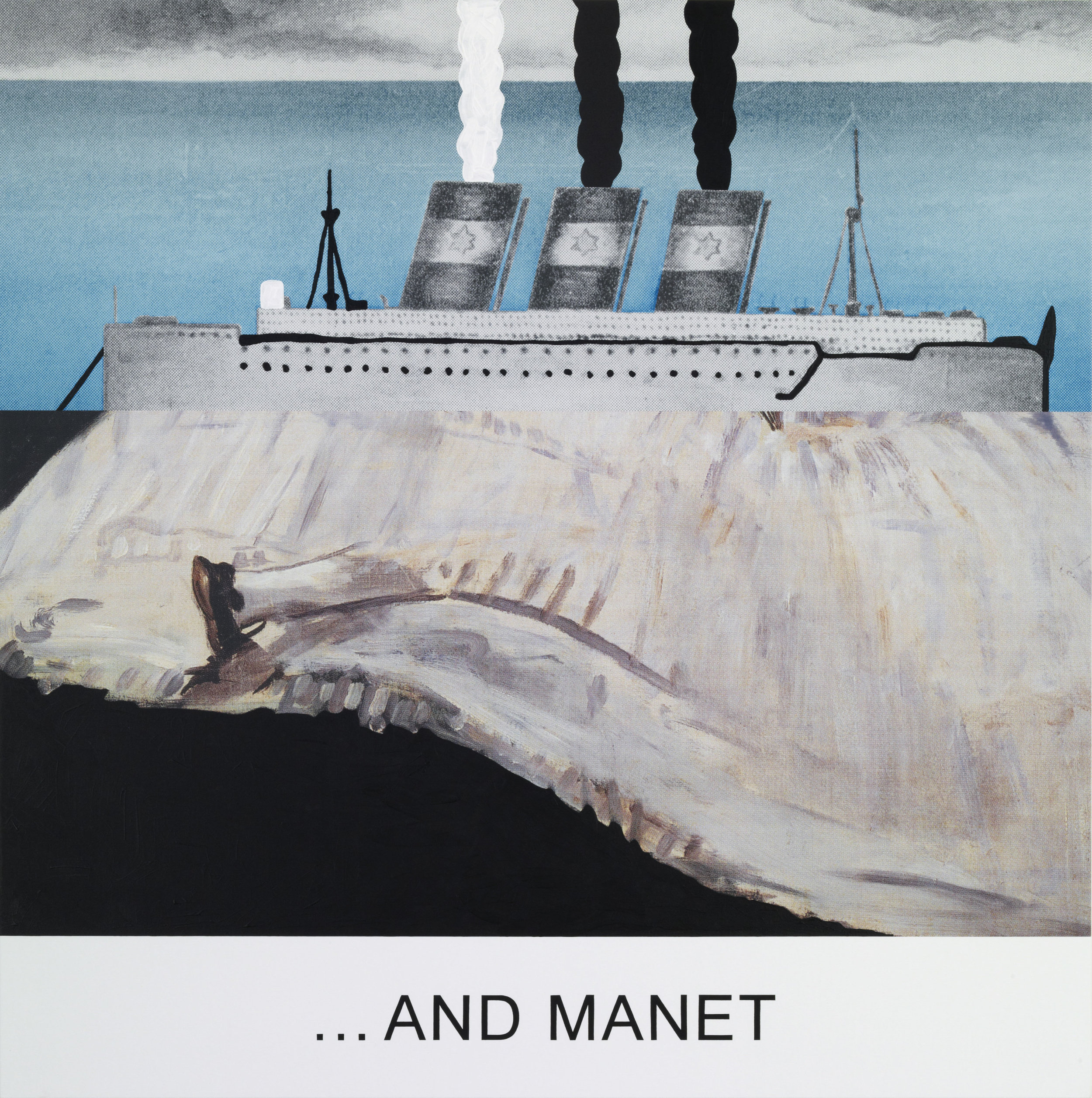 """JOHN BALDESSARI. """"DOUBLE BILL: ...AND MANET"""" (2012). LACQUERED INKJET PRINT ON CANVAS WITH ACRYLIC AND OIL PAINT. 152.4 X 152.4 CM. COURTESY OF THE ARTIST AND MARIAN GOODMAN GALLERY, NEW YORK."""