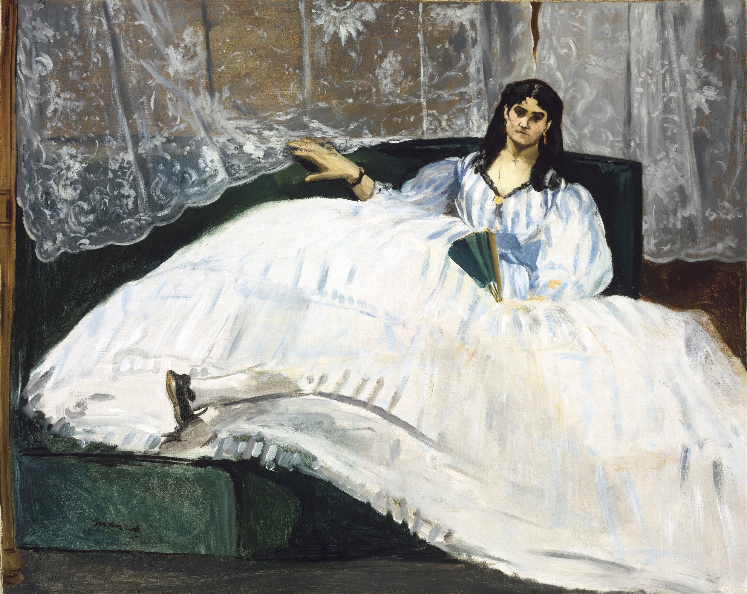 """Art Credit: EDOUARD MANET. """"JEANNE DUVAL, LA MAÎTRESSE DE BAUDELAIRE (LA DAME À L'ÉVENTAIL)"""" (1862). OIL ON CANVAS. 113 X 90 CM. COURTESY MUSEUM OF FINE ARTS, BUDAPEST."""