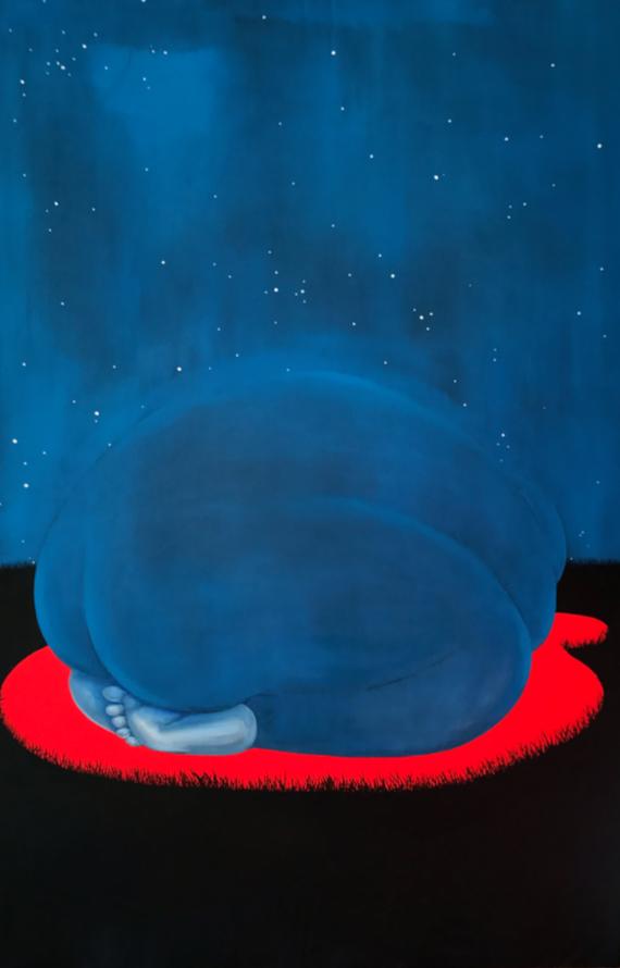 Brittney Leeanne Williams,INTERCEDING ROCK, oil and acrylic on canvas, 40 x 60 inches, 2018