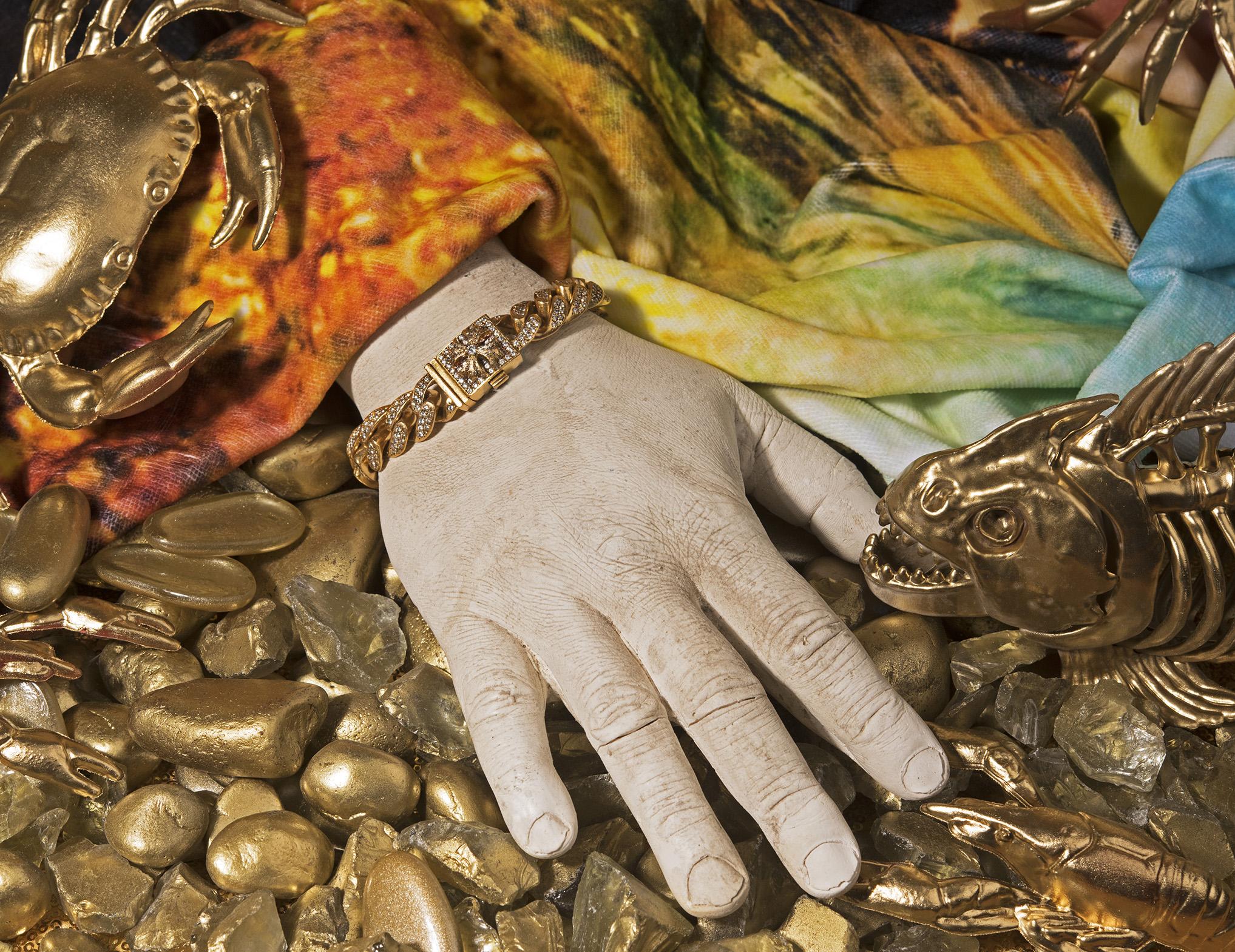 CHROME HEARTS 22k Yellow Gold ID Diamond Bracelet