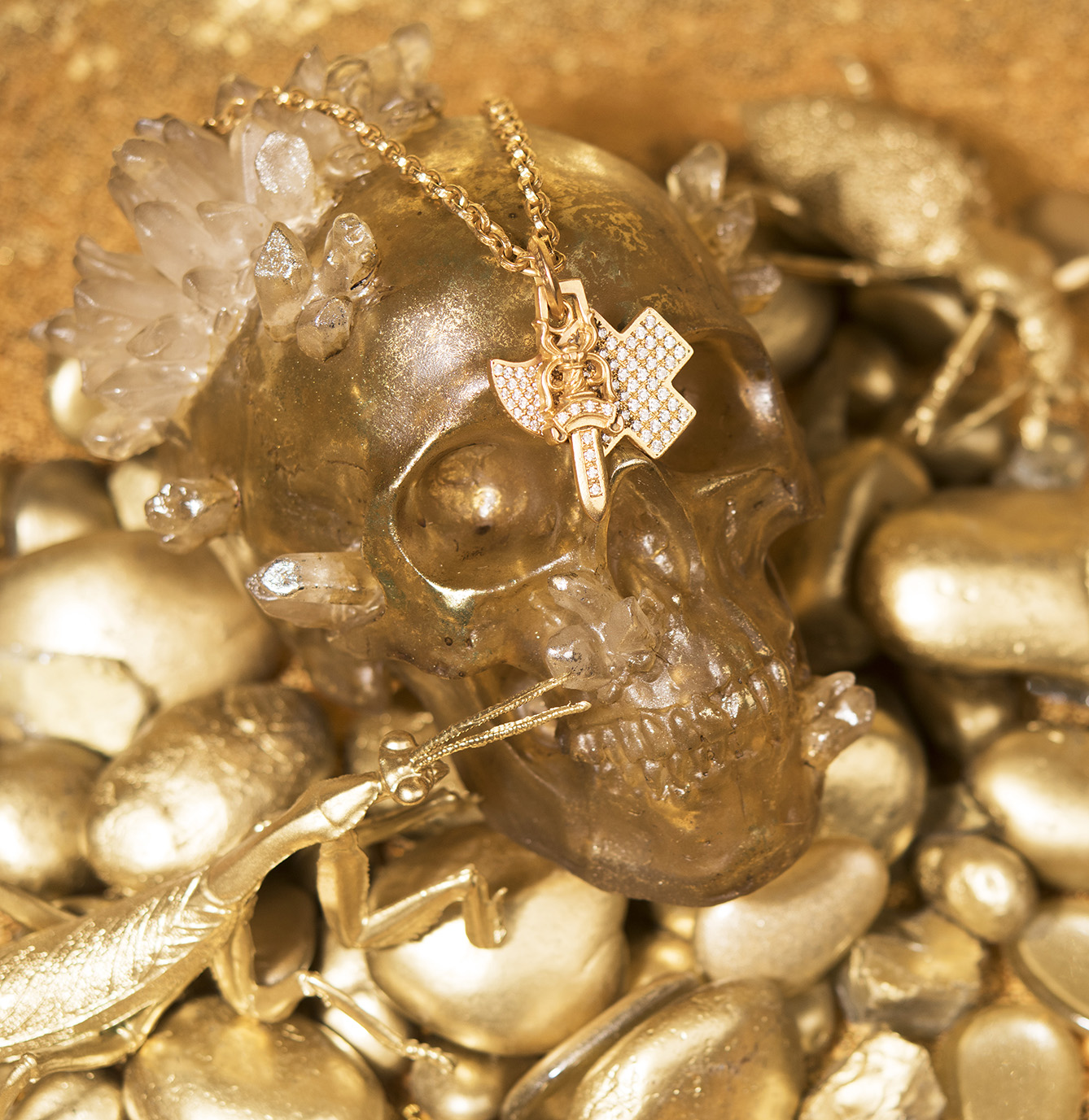CHROME HEARTS 22k Yellow Gold Diamond Dagger and Charms, and Chain