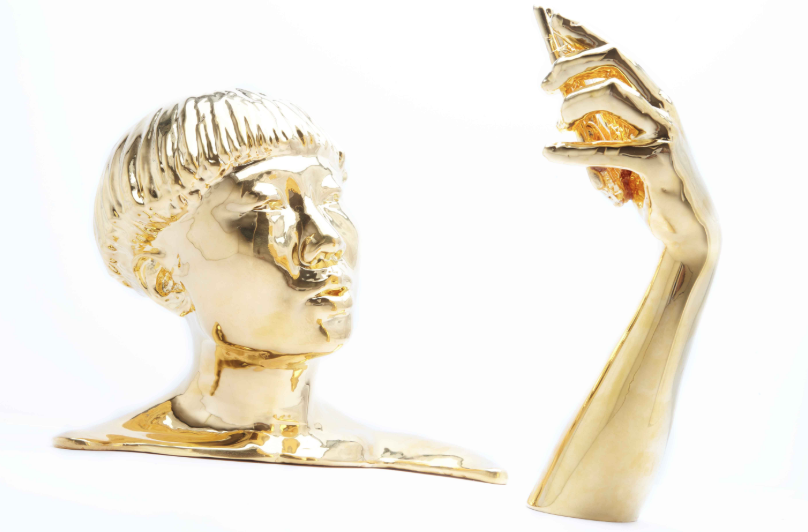 Fischer Cherry  Untitled (JiaJia Fei) , 2017 13 x 14 x 20 inches 3D print coated in 24-karat gold Courtesy of the artist and Garis & Hahn