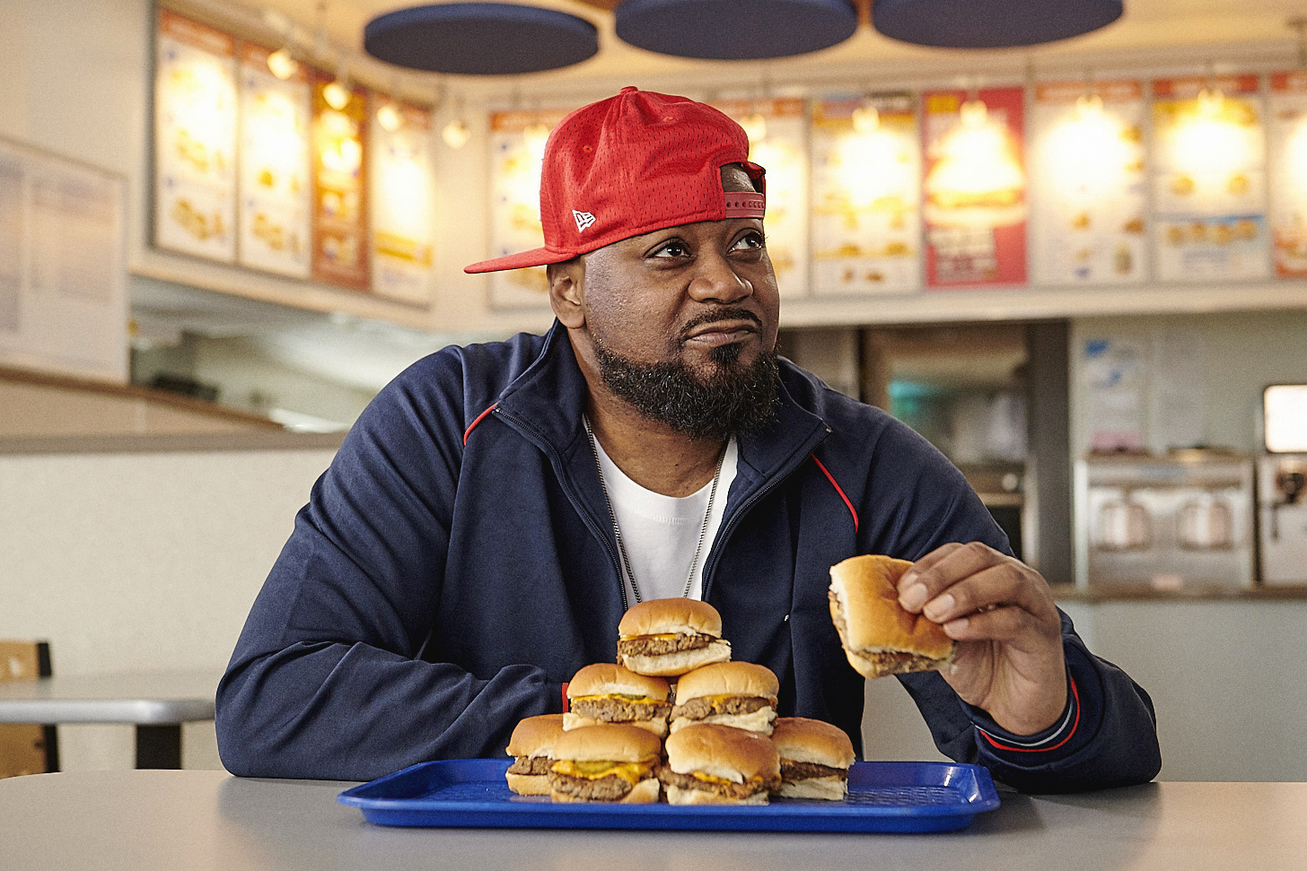 Ghostface eating Impossible Sliders at White Castle, photo credit: Impossible Foods