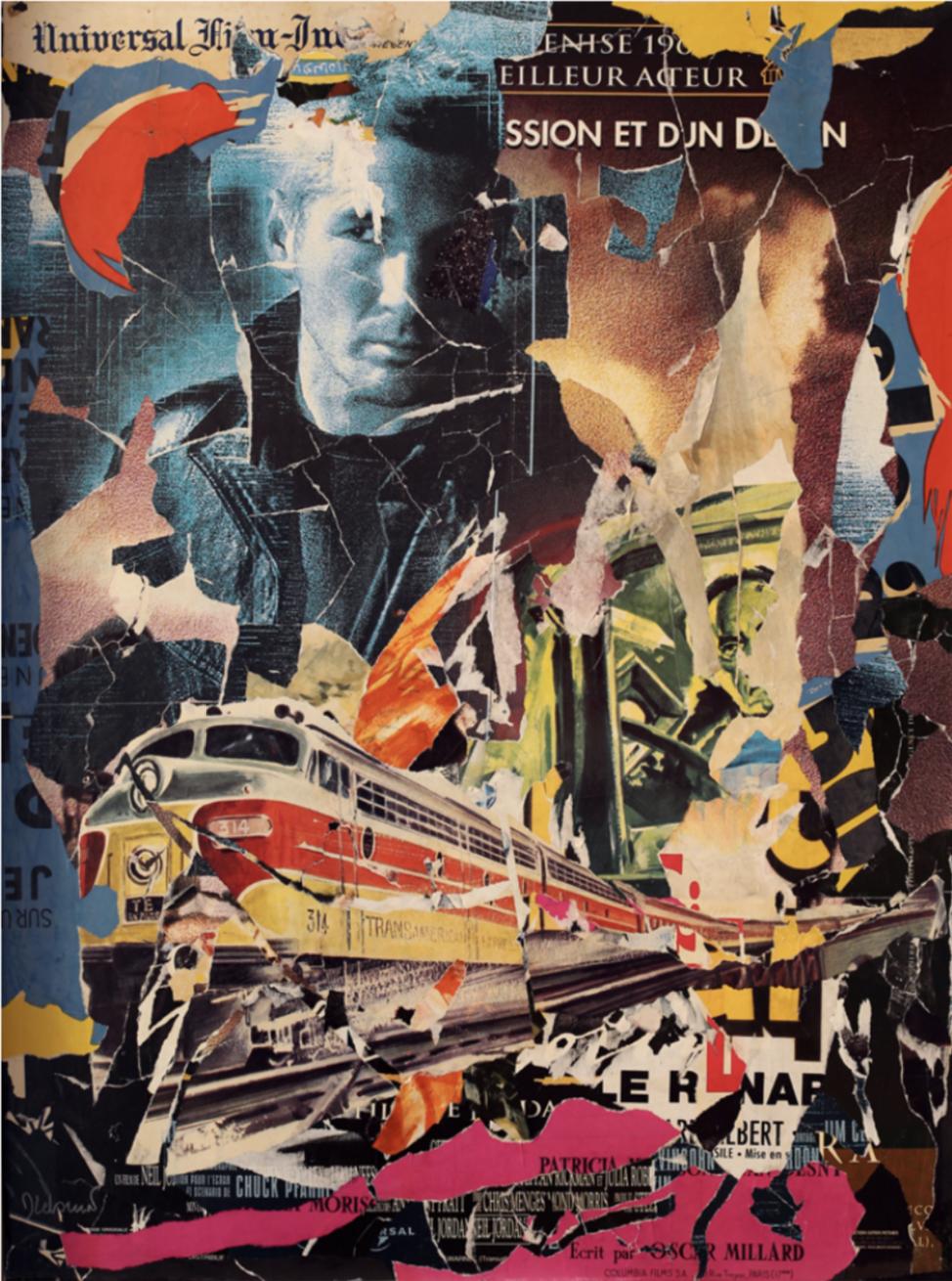 Dominique Lebrun, Transamerican, 2010, Collage on canvas 51 x 28 in