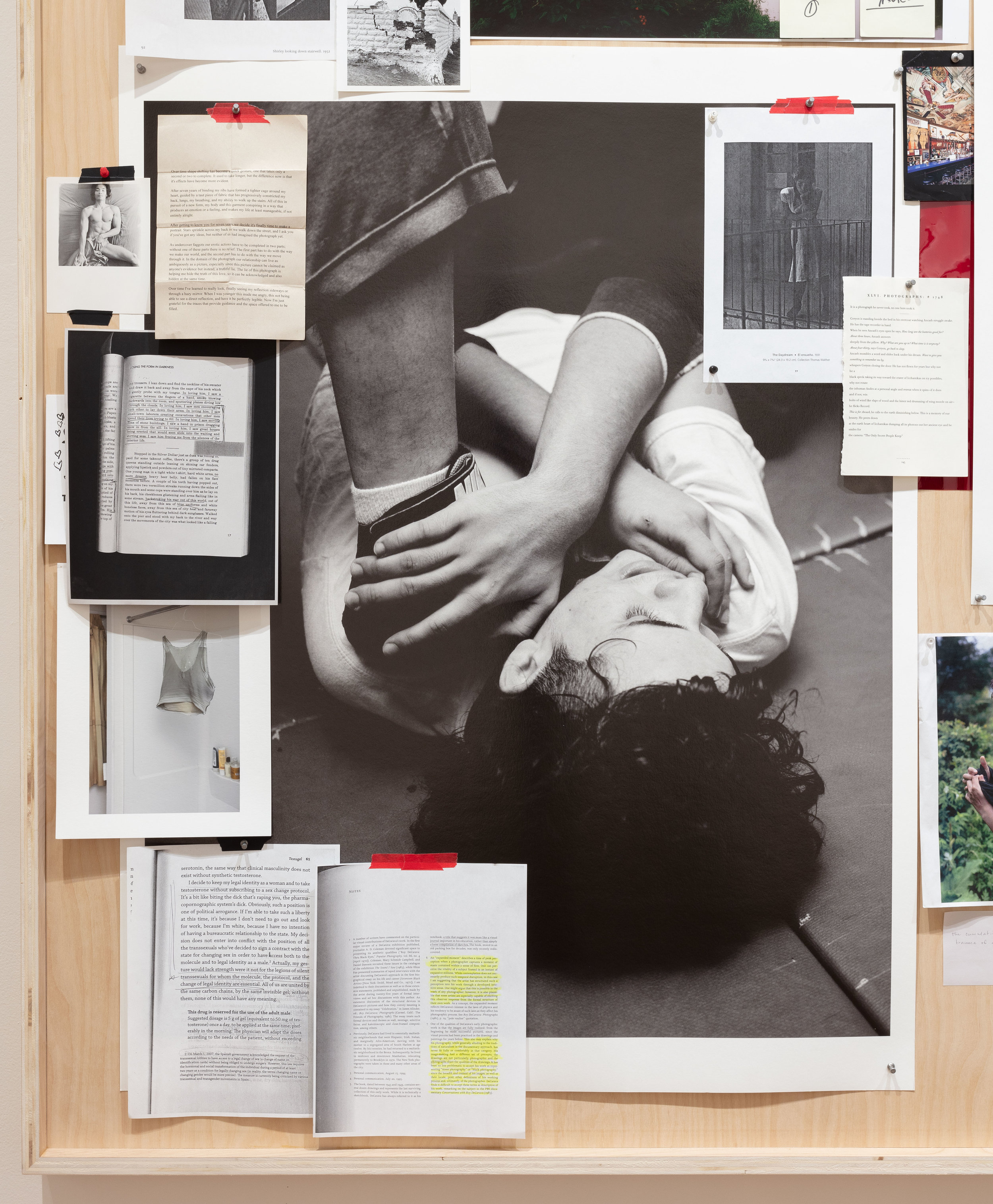 """ELLE PÉREZ. """"UNTITLED"""" (DETAIL), (2018). MIXED MEDIA COLLAGE. 73 1⁄2 × 96 1⁄2 × 3 INCHES. IMAGE COURTESY OF THE ARTIST, 47 CANAL, NEW YORK, AND MOMA PS1, NEW YORK. PHOTO: JOERG LOHSE"""