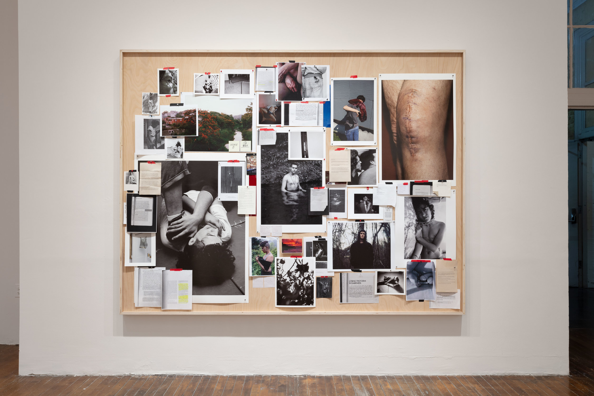 """ELLE PÉREZ. """"UNTITLED"""" (2018). MIXED MEDIA COLLAGE. 73 1⁄2 × 96 1⁄2 × 3 INCHES. IMAGE COURTESY OF THE ARTIST, 47 CANAL, NEW YORK, AND MOMA PS1, NEW YORK. PHOTO: JOERG LOHSE"""