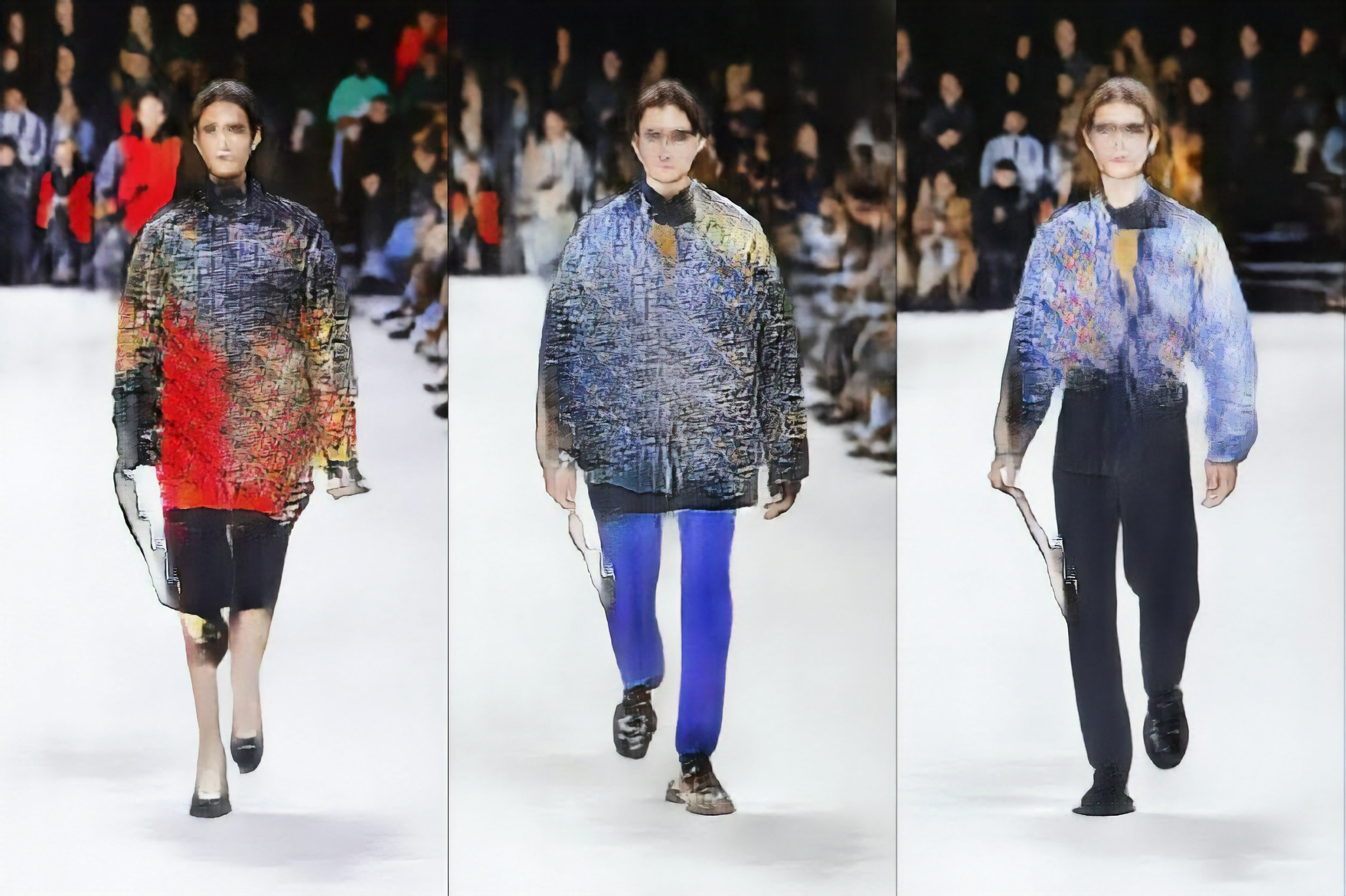 """ROBBIE BARRAT. """"KNITWEAR LINEUP #2 (FLAUNT EXCLUSIVE PIECE)"""" (2018). FASHION DESIGN GENERATED BY ARTIFICIAL INTELLIGENCE. COURTESY THE ARTIST."""