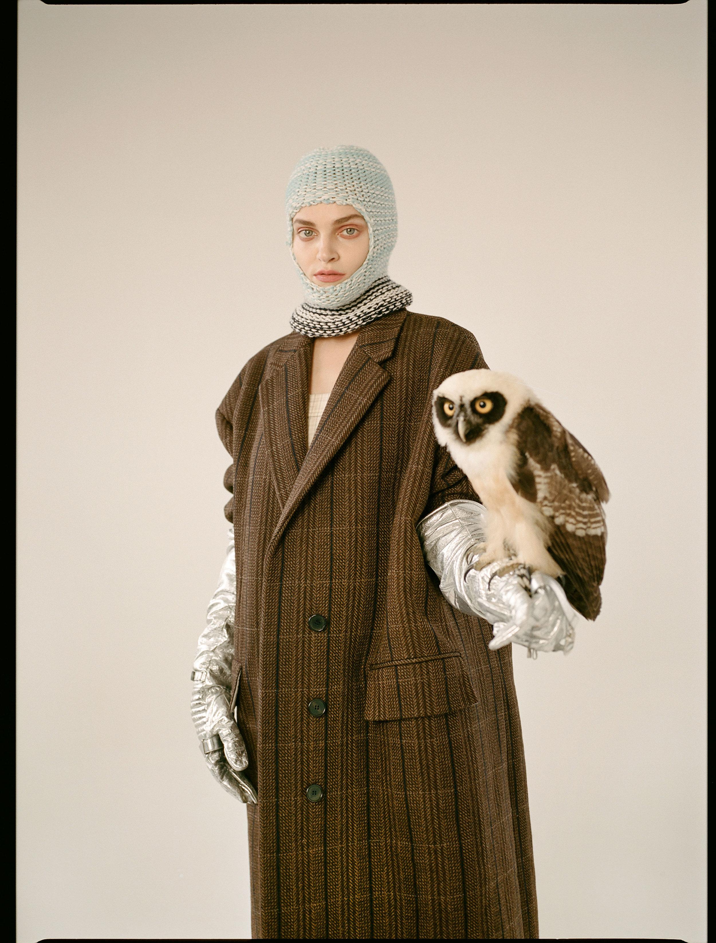 CALVIN KLEIN   205W39NYC   jacket, gloves and balaclava.