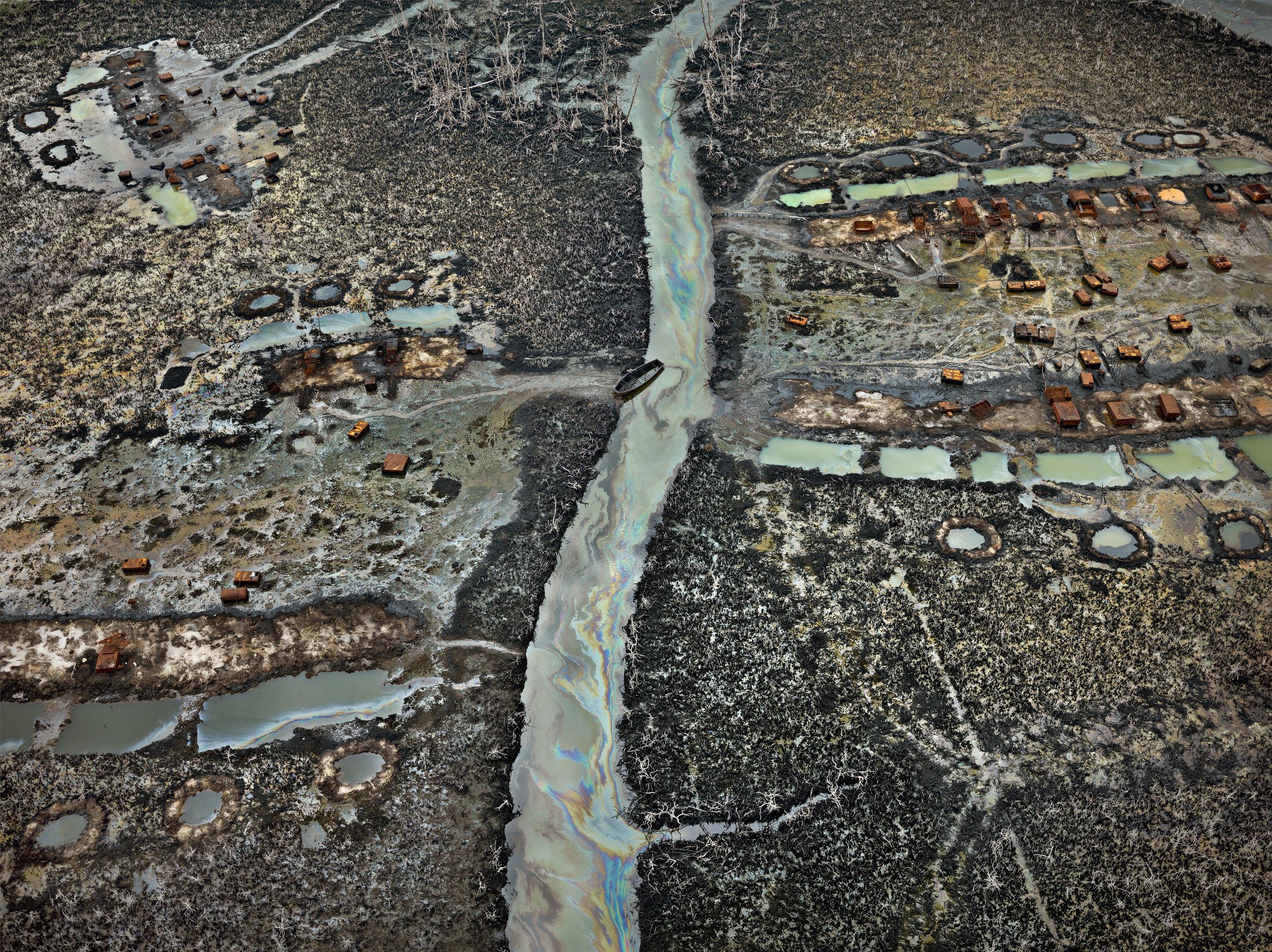 "Edward Burtynsky. ""Oil Bunkering #1, Niger Delta, Nigeria"" (2016). Photo(s) © Edward Burtynsky. Courtesy Robert Koch Gallery, San Francisco / Nicholas Metivier Gallery, Toronto."
