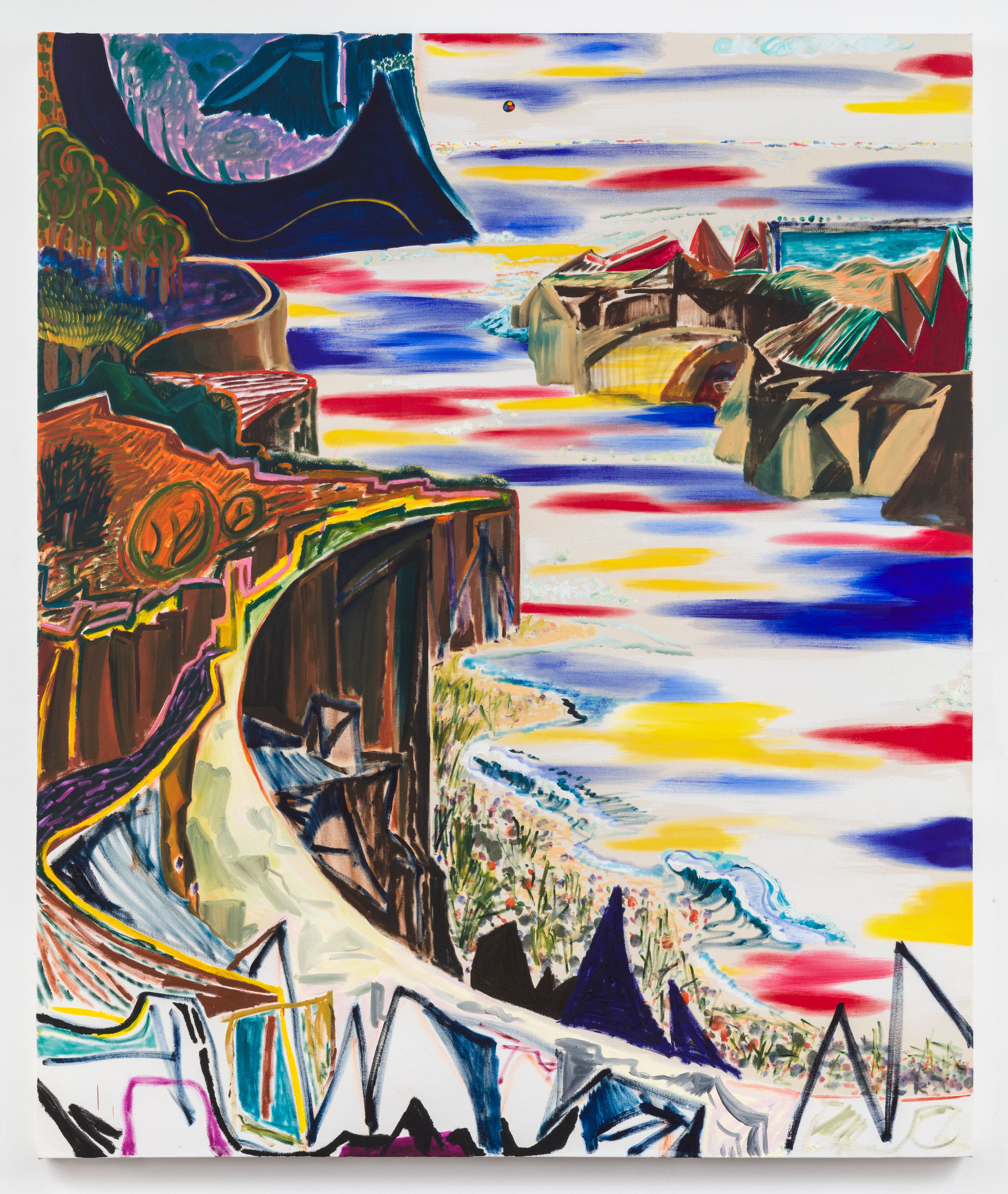 """SHARA HUGHES. """"JAGGED LITTLE HILLS"""" (2018). OIL AND ACRYLIC ON CANVAS. 84 X 70 INCHES. COURTESY THE ARTIST AND RACHEL UFFNER GALLERY."""