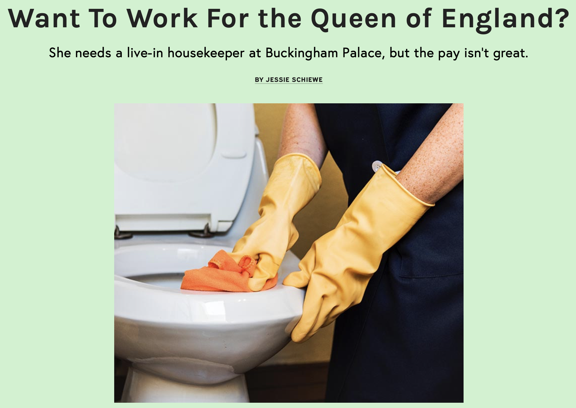 Want To Work For the Queen of England?