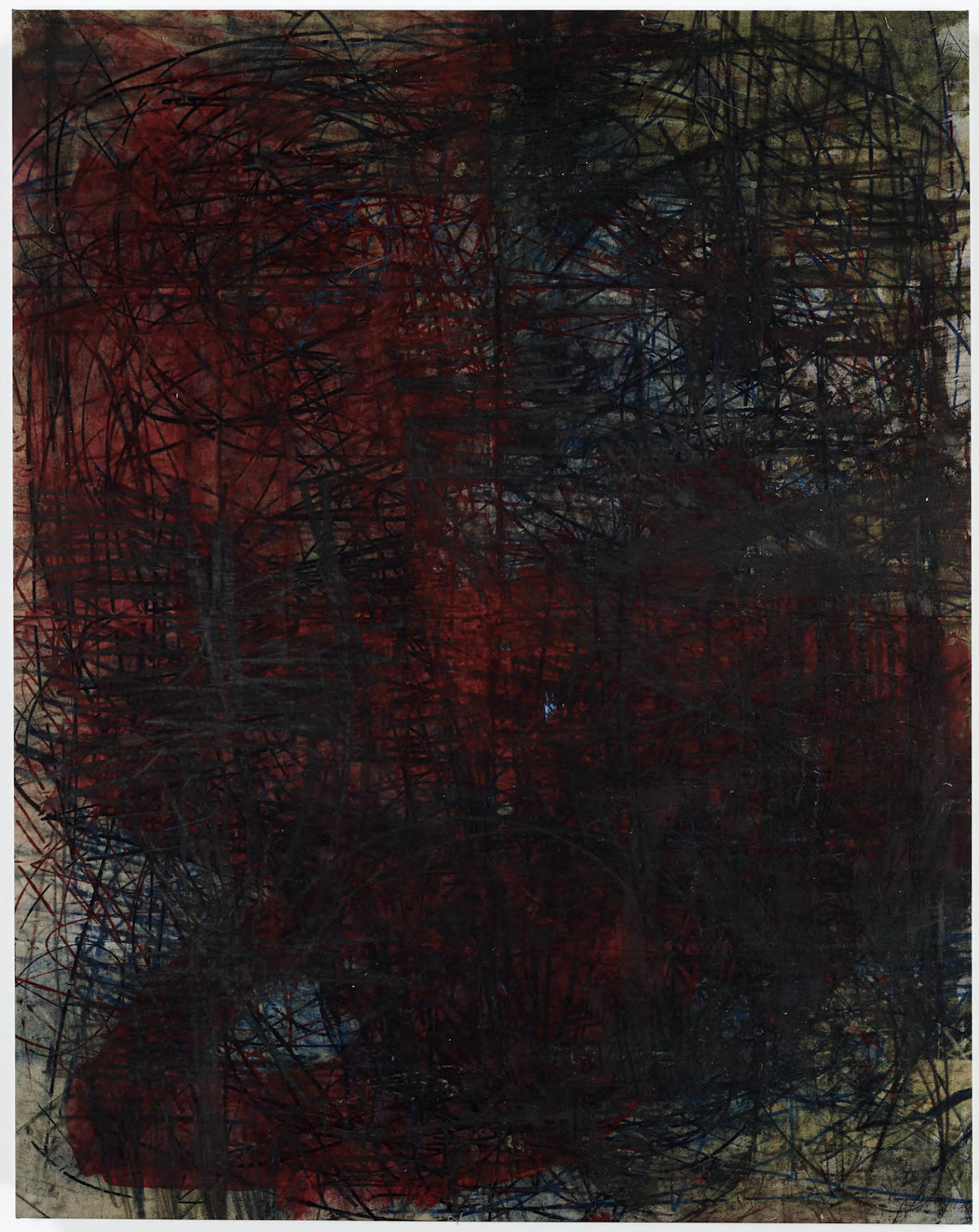 Oscar Murillo  (Untitled) Catalyst , 2018 Oil and graphite on canvas 82.75 x 65 in (210 x 165 cm)