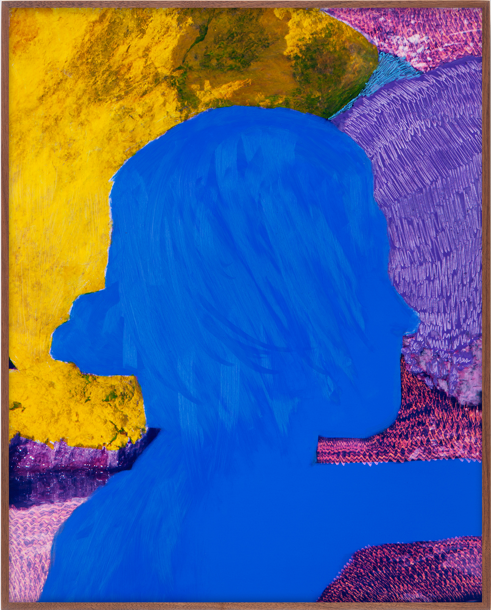 Evan Whale  Bust in Profile, Blue Foreground (Study), 2018  Oil and etching on c-print, artist frame  20½ x 16½ inches (52.1 x 41.9 cm)  Unique