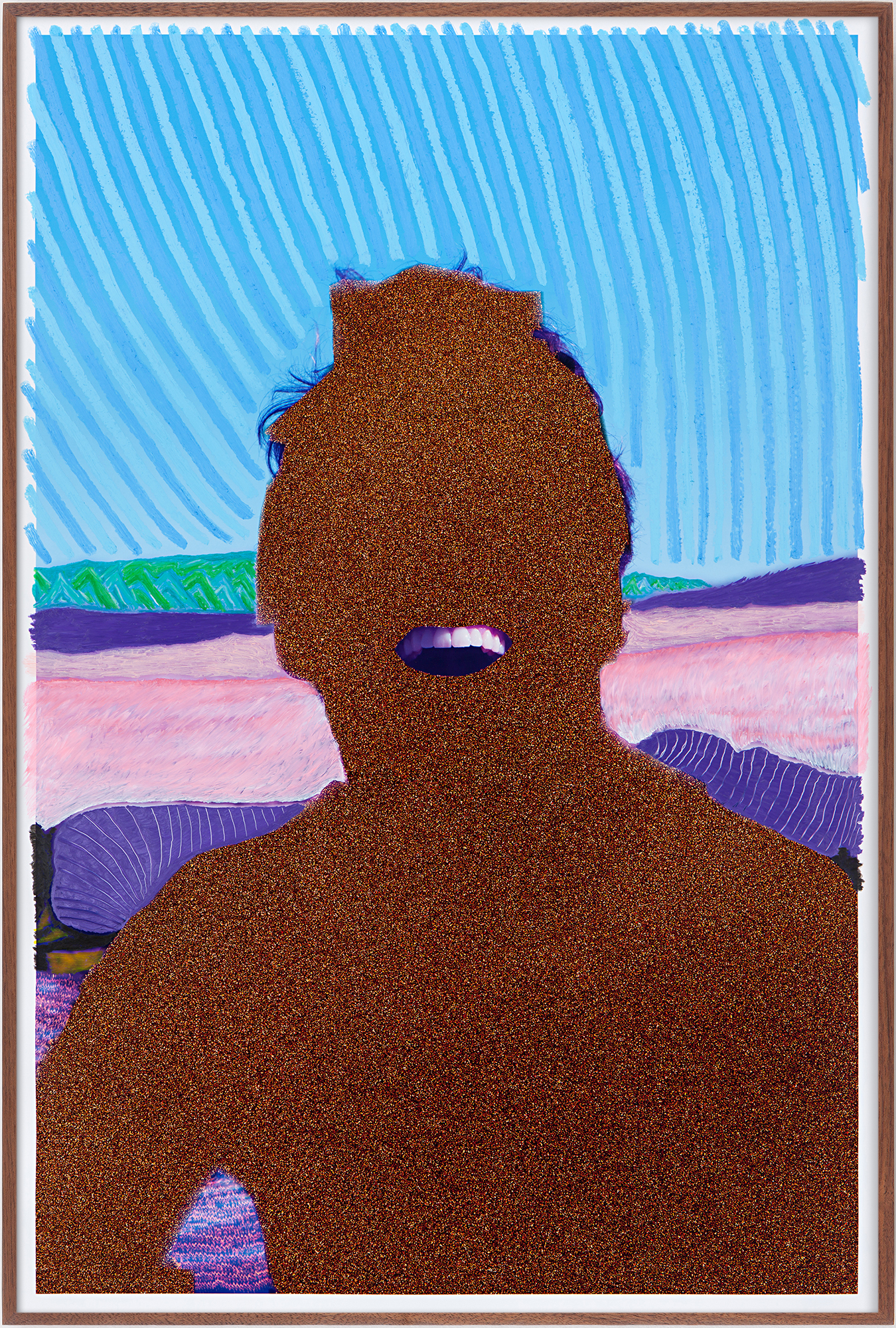 Evan Whale  California Bather (I Saw You), 2019  Oil, chemigram, and etching on c-print, artist frame  39 5/8 x 26 5/8 inches (100.6 x 67.6 cm)  Unique