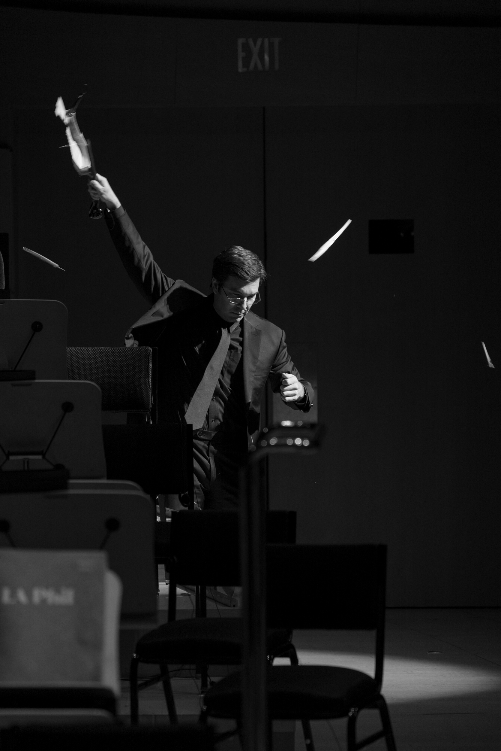Nathan Cole, LA Phil First Associate Concertmaster, performing Nam June Paik's One , for solo violin, November 2018 Fluxconcert | Photo credit: Ian-Byers Gamber for the LA Phil