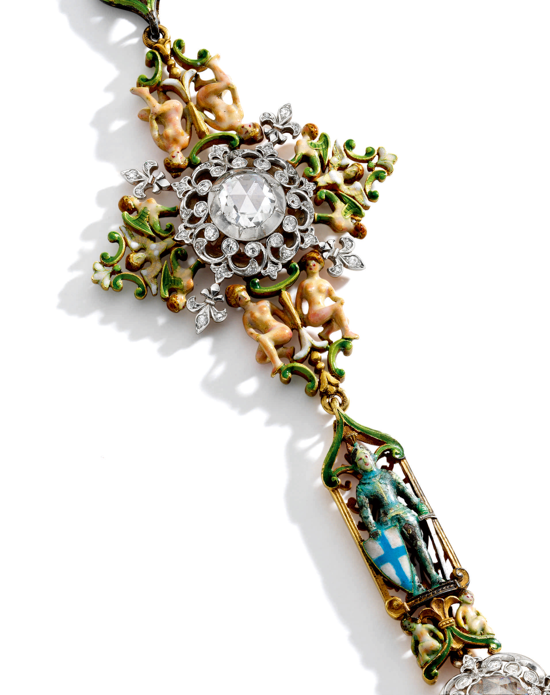 Enamel and Diamond Demi-Parure, Paulding Farnham for Tiffany & Co.