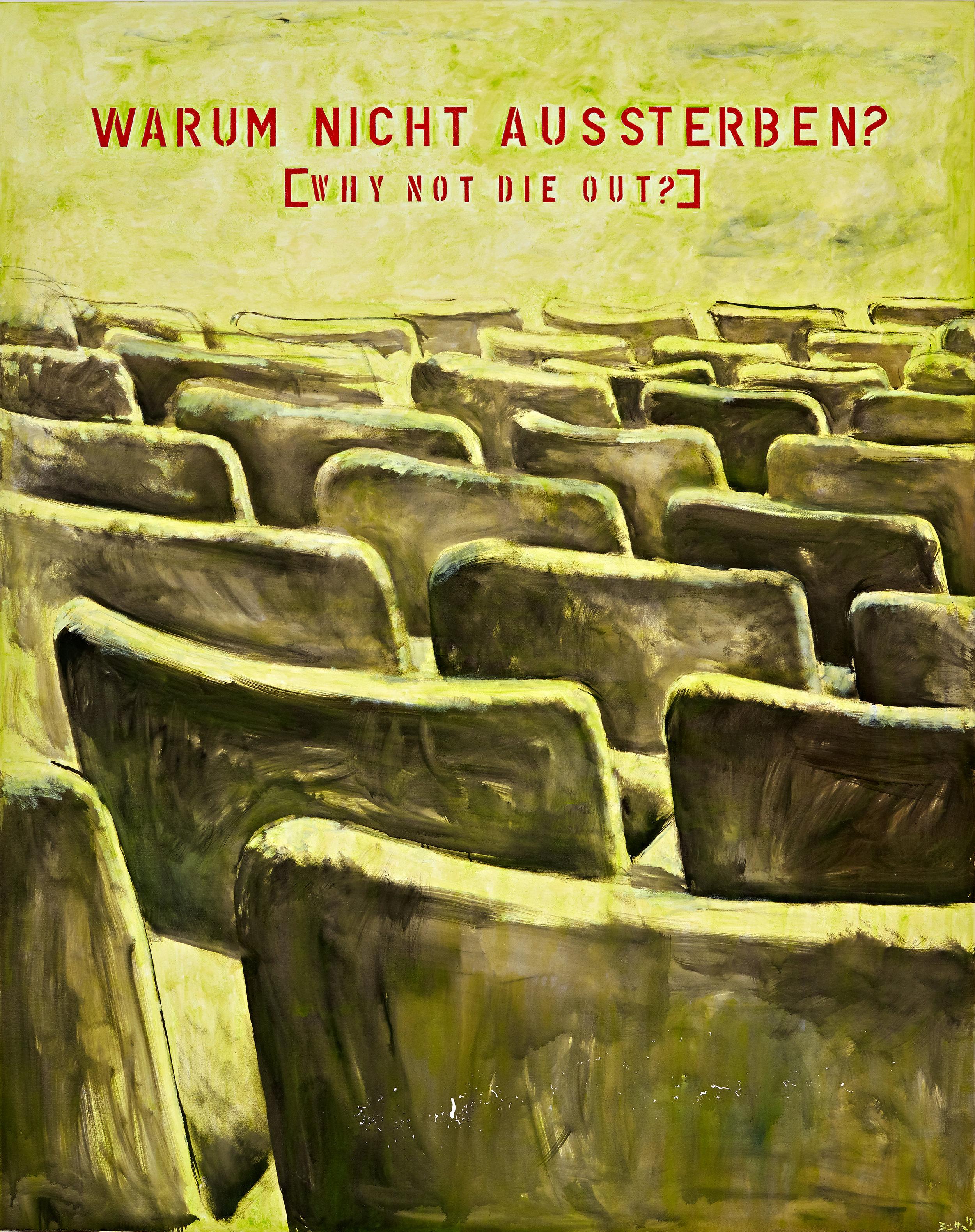 Büttner, Why not die out? (Warum nicht aussterben), 2018, oil on canvas, 59 x 47 1-4 in., 150 x 120 cm.