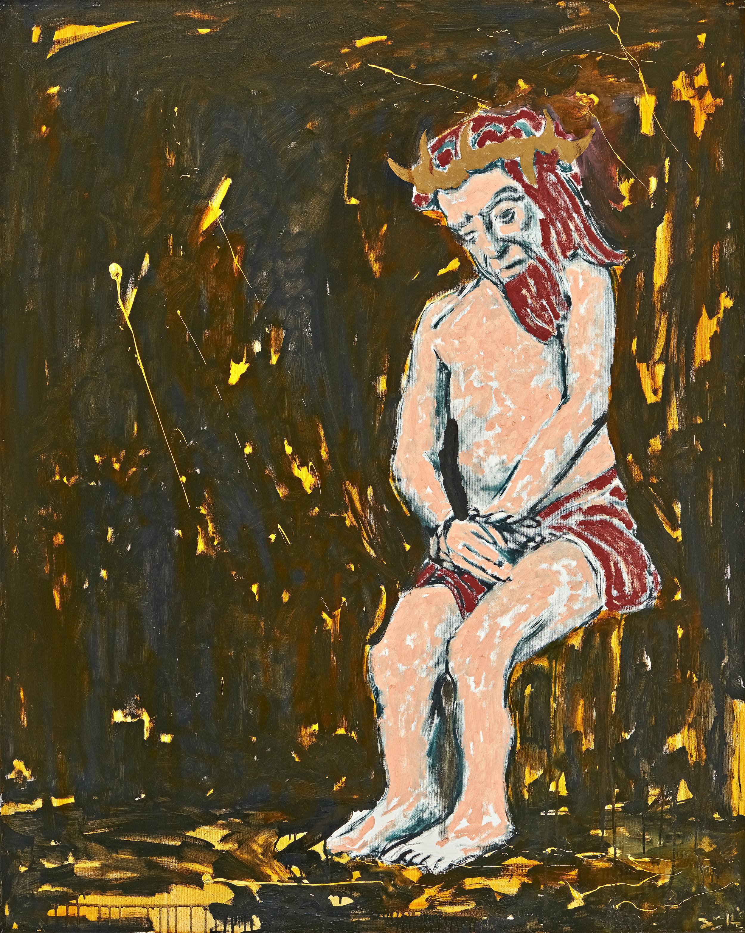Büttner, Prisoner, lightly tortured (Gefangener leicht angefoltert), 2017, oil on canvas, 59 x 47 1-4 in., 150 x 120 cm.