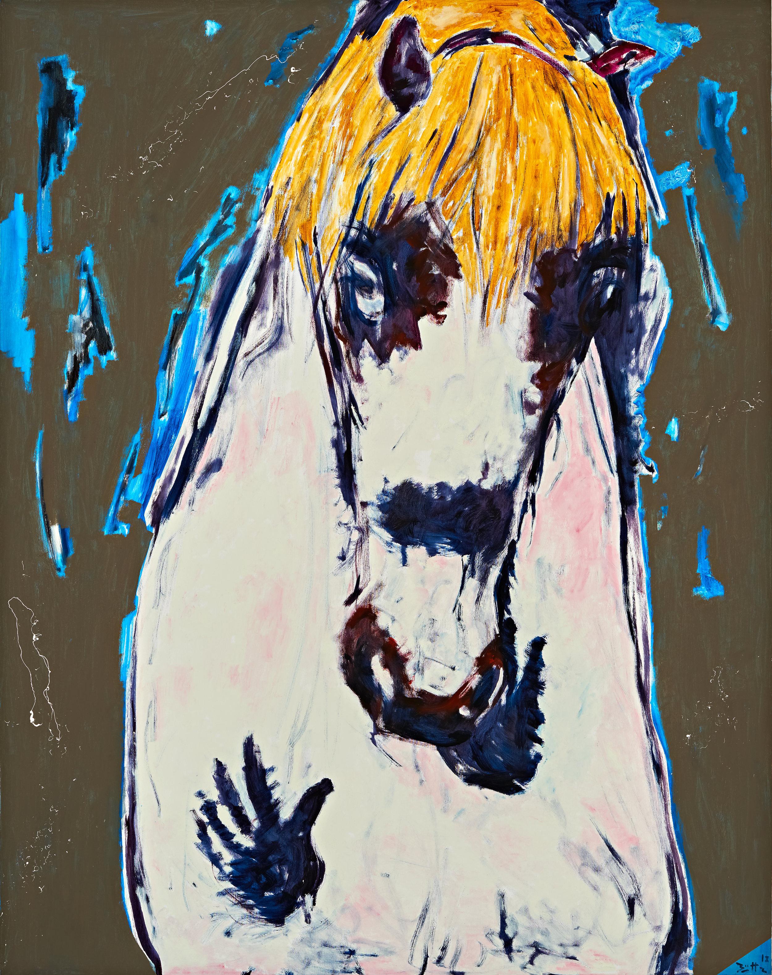 Büttner, Something Very Blond Comes to Town (Etwas sehr Blondes betritt die Stadt), 2018, oil on canvas, 74 3-4 x 59 in., 190 x 150 cm.