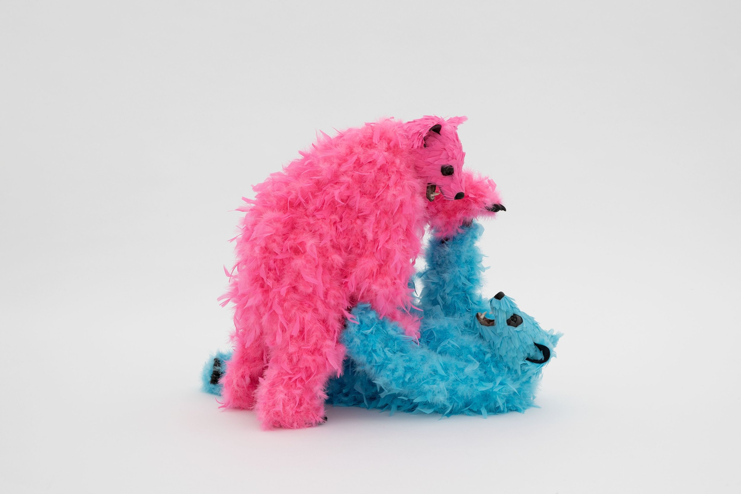 #6 - Paola Pivi   You drive me crazy, 2019   Urethane foam, plastic, feathers  Pink bear: 70 x 60 x 40 cm | 27 9/16 x 23 5/8 x 15 3/4 in  Blue bear: 75 x 60 x 40 cm | 29 1/2 x 23 5/8 x 15 3/4 in  Photo: Guillaume Ziccarelli  Courtesy of the artist & Perrotin