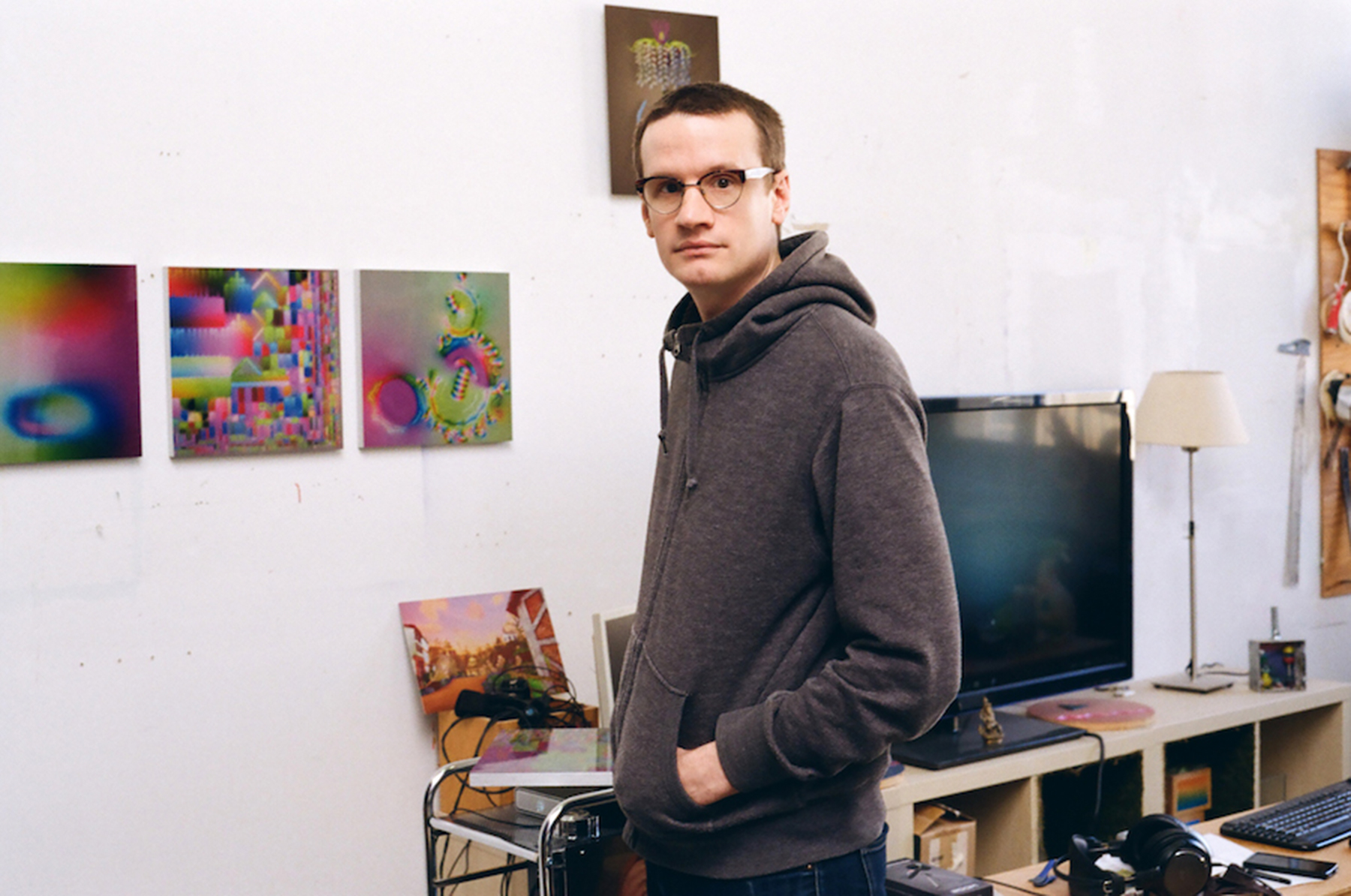 Jeremy Couillard in his studio,  courtesy of the artist, Daata Editions and Phillips Auctions