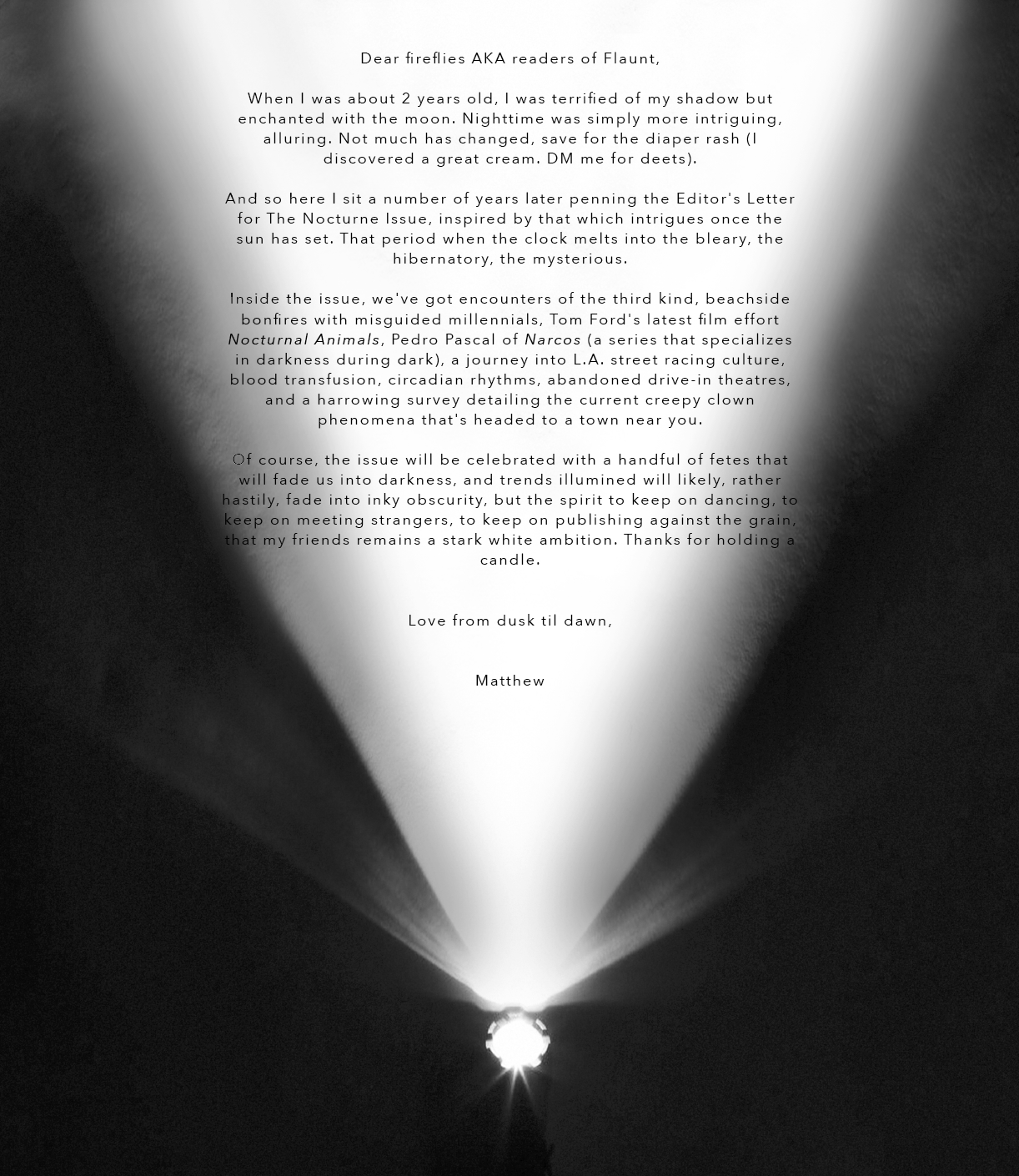 Flaunt Magazine - Issue 150, Editor's Letter .png