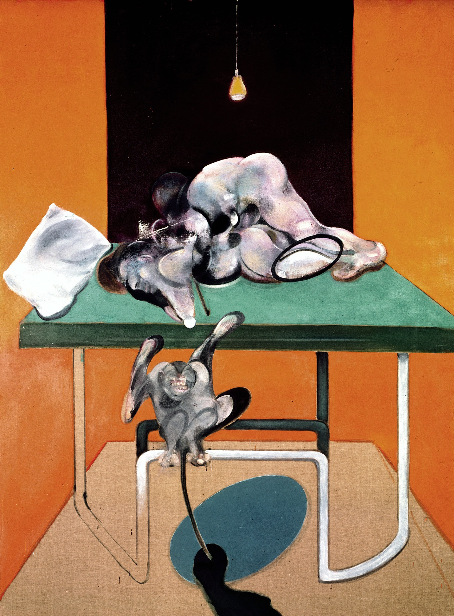 Francis Bacon.  Two Figures with a Monkey, 1973. 78 x 58 1/8 in. 198 x 147.5 cm. Copyright The Estate of Francis Bacon. All rights reserved. DACS/Artimage 2019. Photo: Prudence Cuming Associates Ltd. Courtesy Gagosian