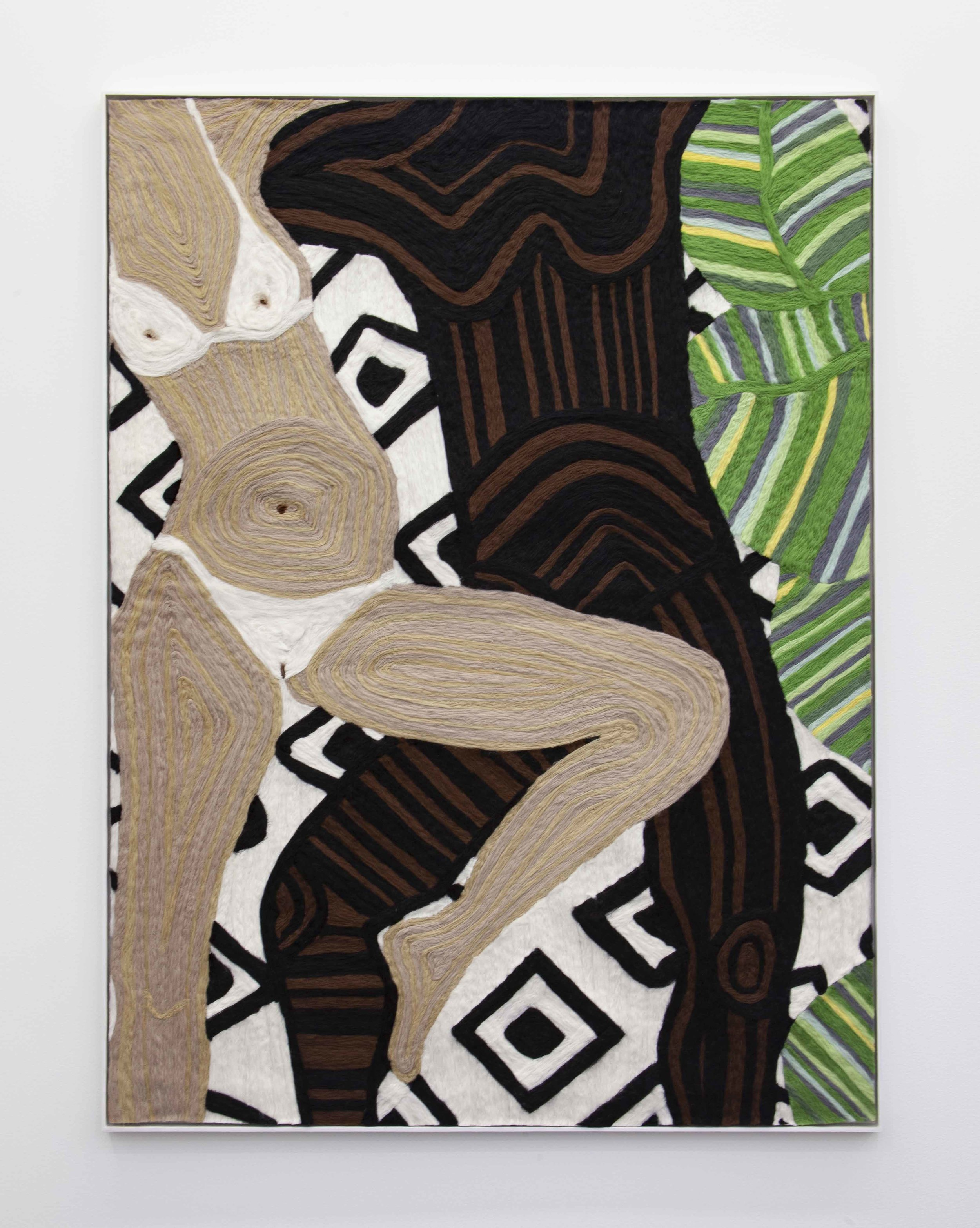"""Cheryl Pope """"Woman and Man Reclining on Striped Mat XII"""" (2019). Needle-punched wool roving on cashmere, 65 in x 48 3/4 in. Courtesy of the artist and Monique Meloche Gallery, Chicago."""