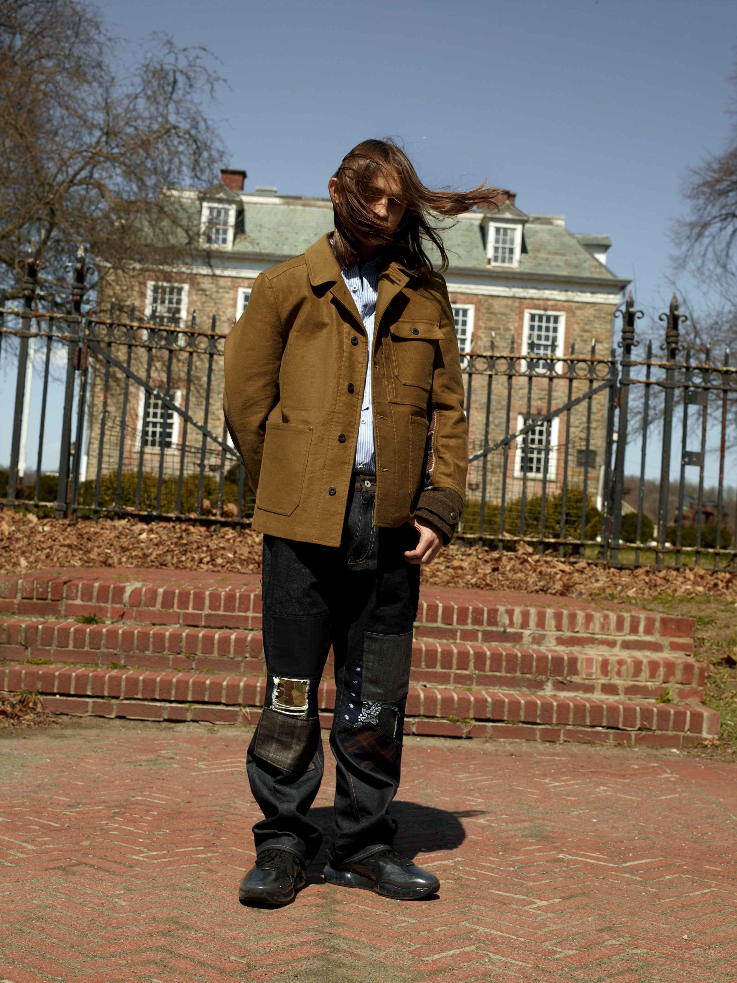 JUNYA WATANABE    x    LEVI'S     jacket, shirt, and jeans and   ALEXANDER WANG     shoes.