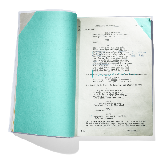 Breakfast at Tiffany's  script, transcript by Paramount Pictures and annotations by Audrey Hepburn® (1960-1961)   Audrey Hepburn® - Trademark and Likeness property of Sean Hepburn Ferrer and Luca Dotti – All Rights Reserved.  Photo credit: The Tiffany Archives