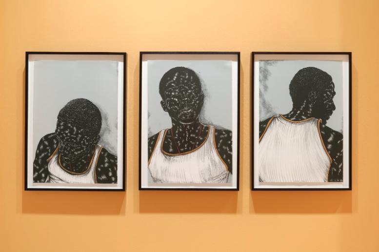 Installation view of  Recent Acquisitions: Toyin Ojih Odutola , Frye Art Museum, 2019. Photo: Jueqian Fang. Courtesy of the Frye Art Museum.