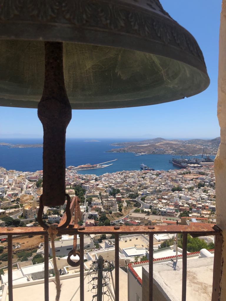 First stop on my Greece tour, Syros! I played at the  Syros International Film Festival  where artist accommodation was in an old Monastery. View from the bell tower <3