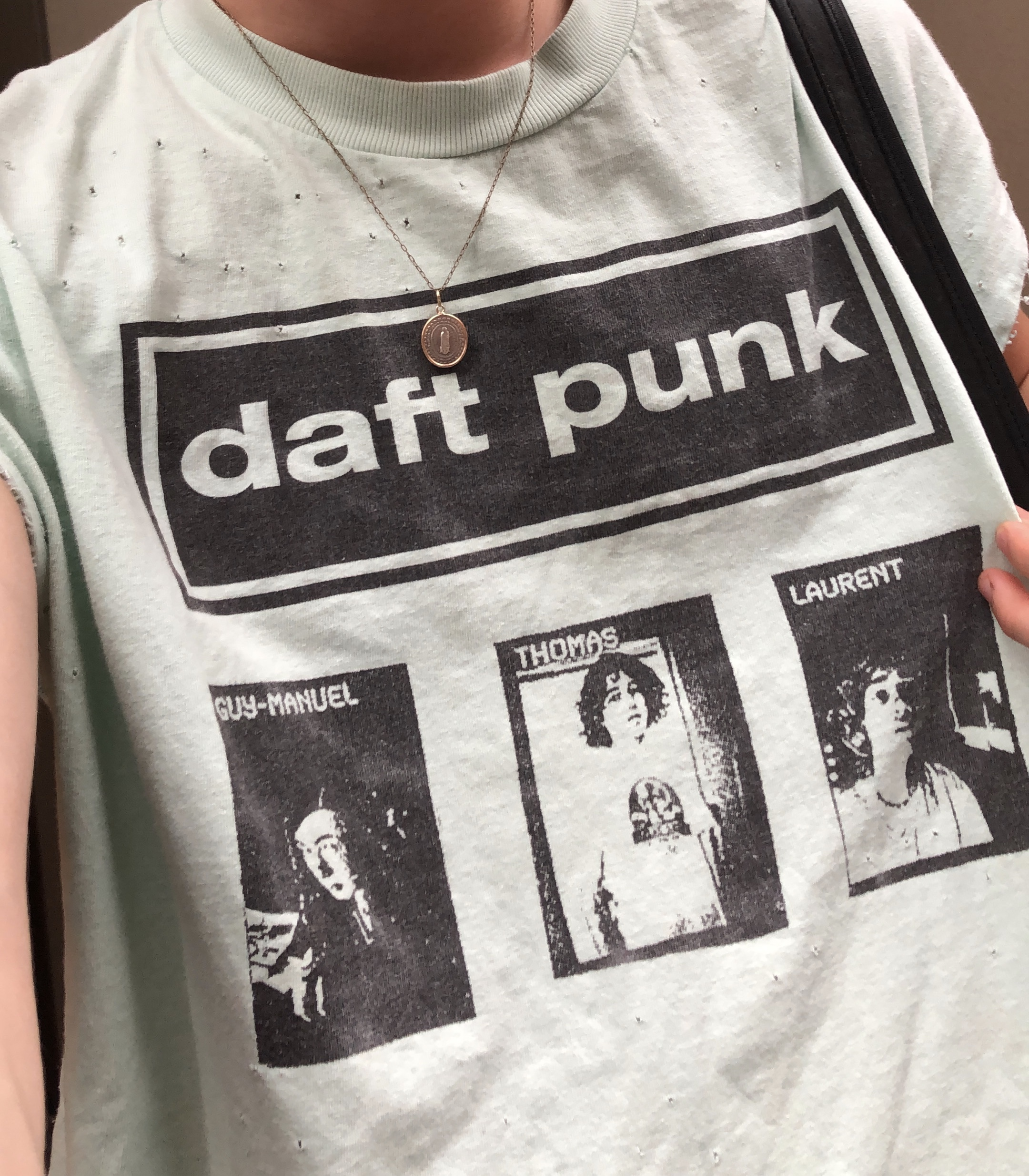 The next day, I literally saw a guy wearing this shirt in the subway. So for those of you who don't know me, I am a MASSIVE Daft Punk fan, and when I saw this shirt, I had to have it. I asked him how much it would cost to buy it off his back, he named his price, and the rest is history. I bought a shirt off a stranger in the subway, it was a beautiful and slightly unhygienic moment. He looked like a clean guy though, but yeah I washed it as soon as I got home.