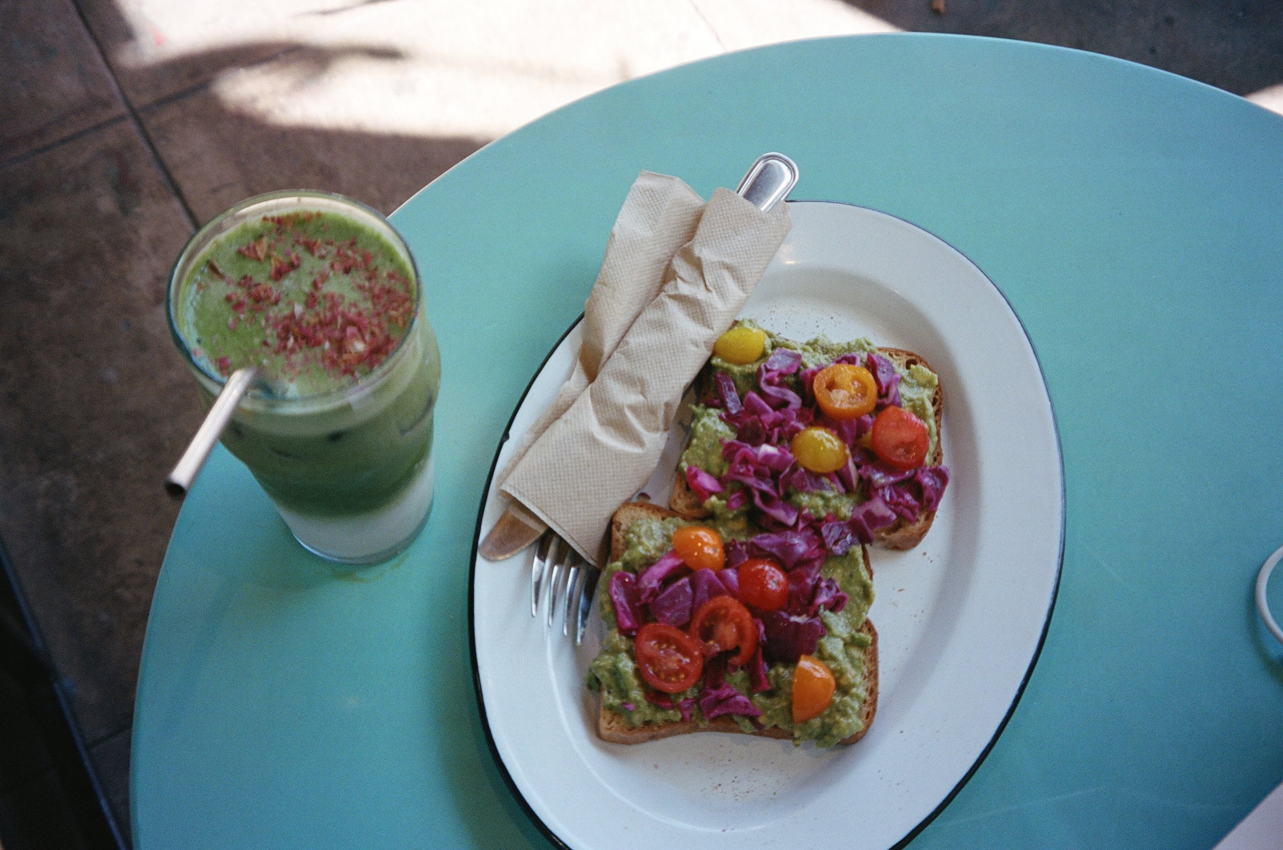 I often have a healthy brunch at Silverlake's MatchaBar, where I rack up member stars in order to eventually get a free drink. The rose matcha is my favourite.