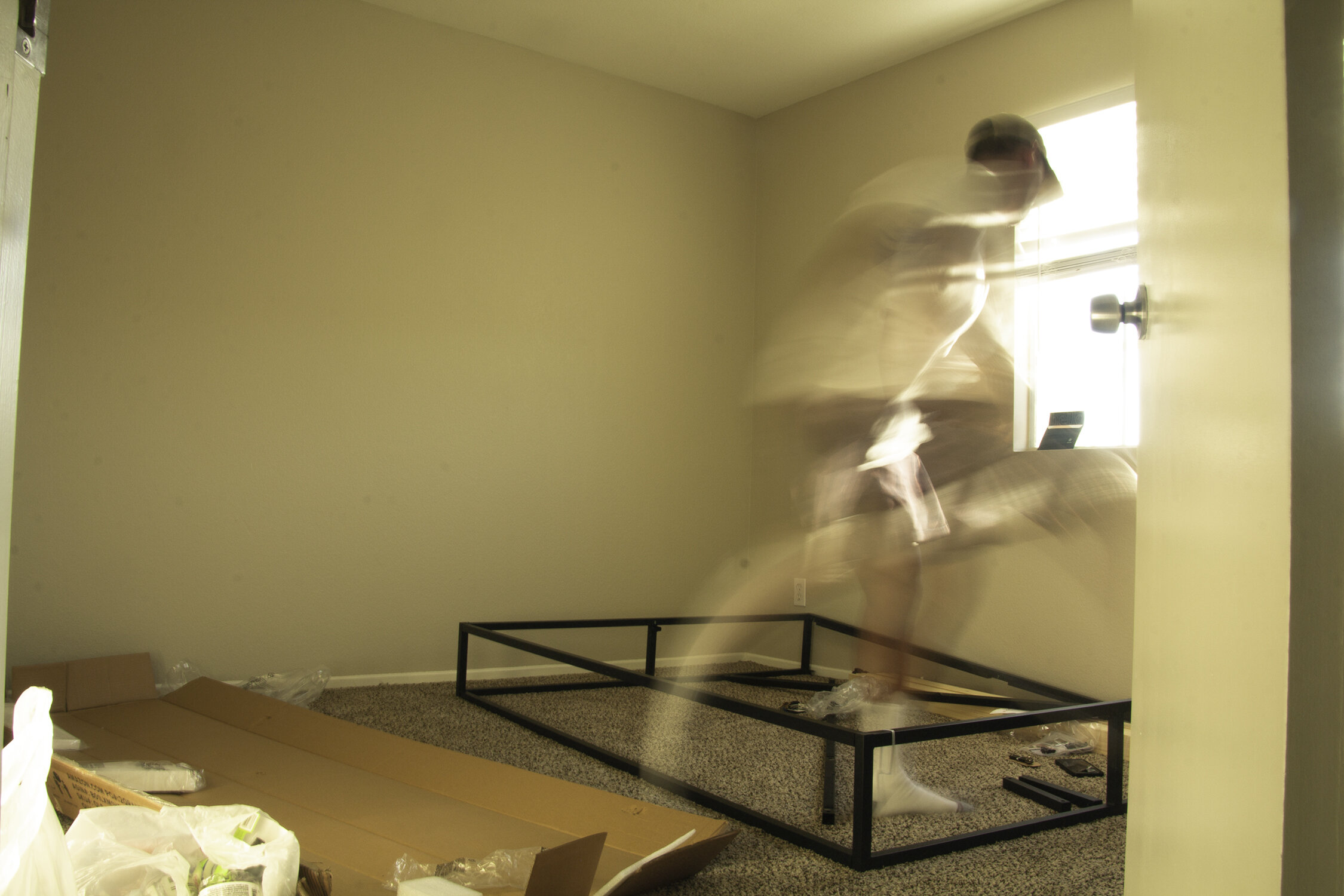No mattress.... but still jumping on the bed.