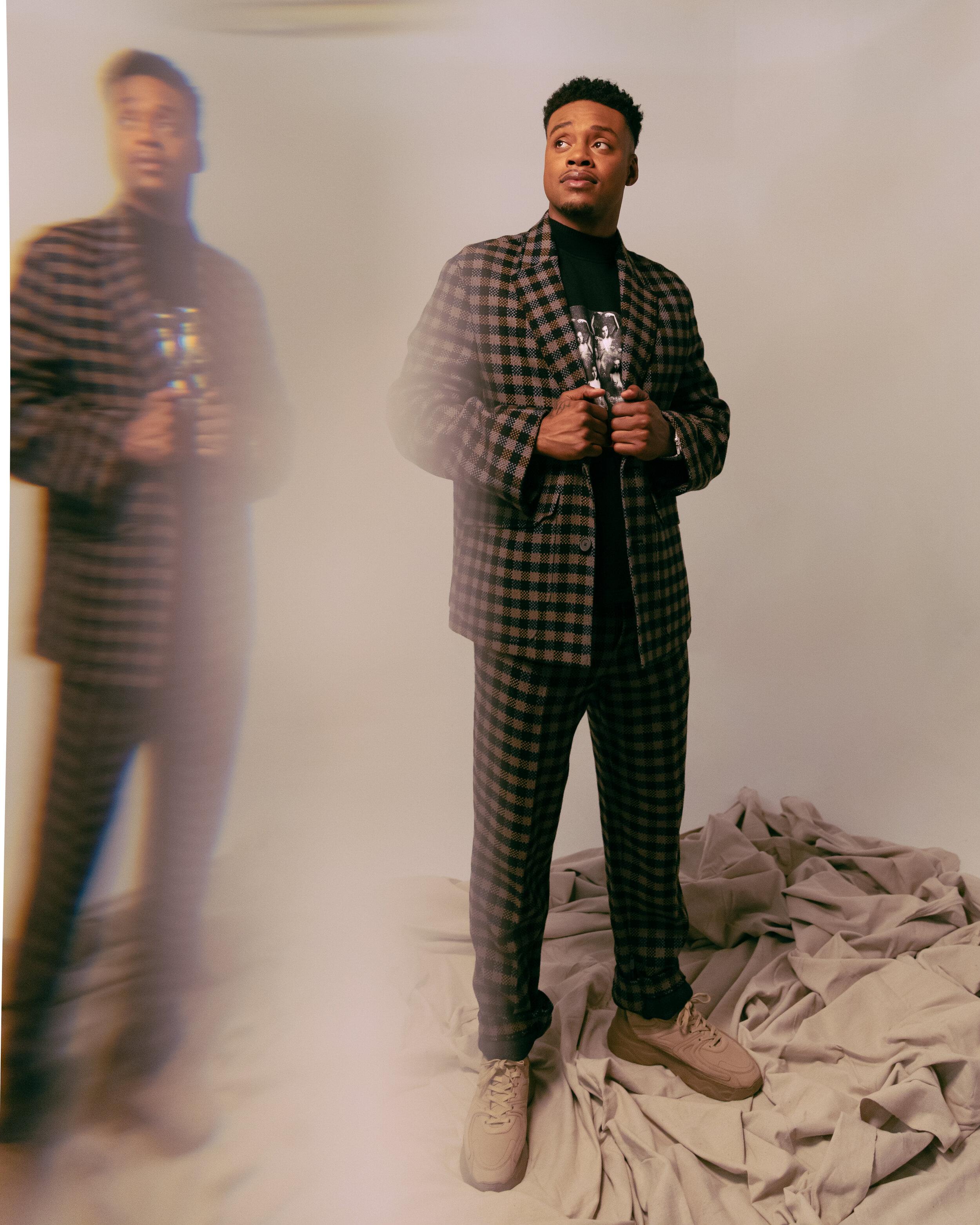 ERMENEGILDO ZEGNA XXX     suit,   NECESSITY SENSE     shirt, and   FILLING PIECES     shoes.