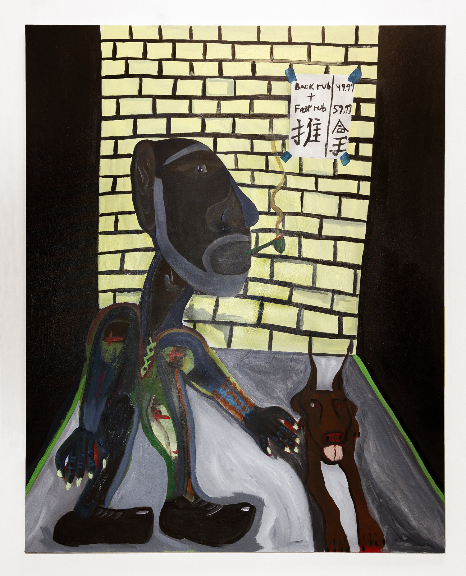Marcus Jahmal,   Chinatown , 2019 Acrylic and oil pastel on canvas60 x 48 inches