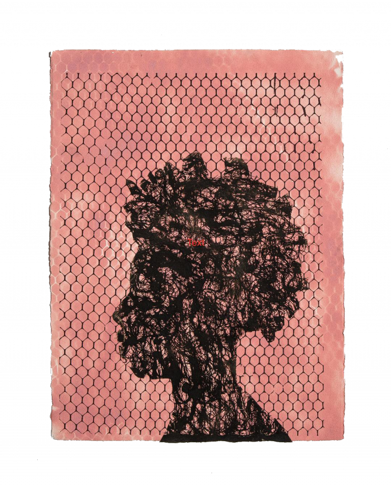 Morel Doucet,  When they Stay in the Sun their Shadows Grow with Regrets, 2019, Silkscreen on paper with coconut husk, 30 x 22 1/2 inches