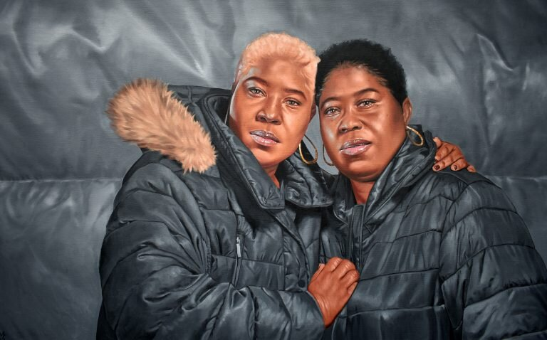 Monica Ikegwu,  Sister's Keeper, 2020, Oil on canvas, 30 x 48 inches