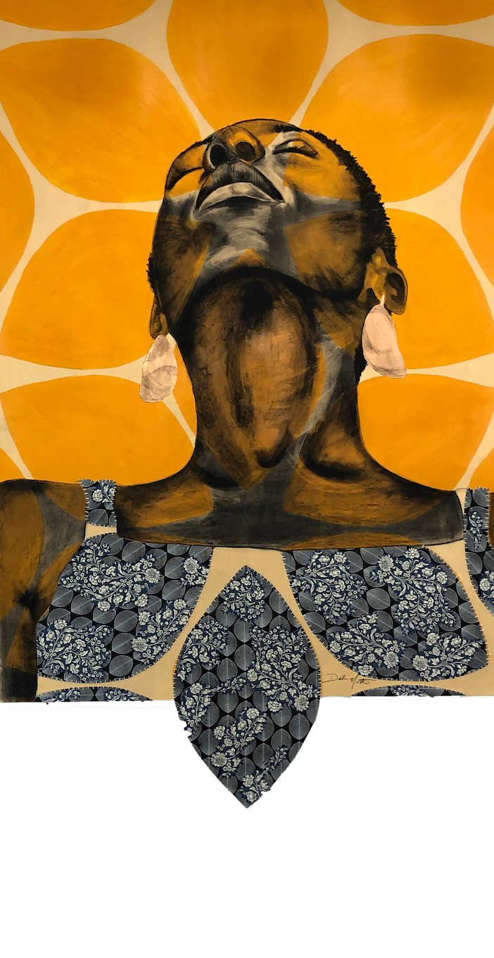 Delita Martin,  I See God in Us/Sunrise, 2020, Acrylic, charcoal, decorative papers, hand stitching, liquid gold leaf, 72 x 51 1/2 inches