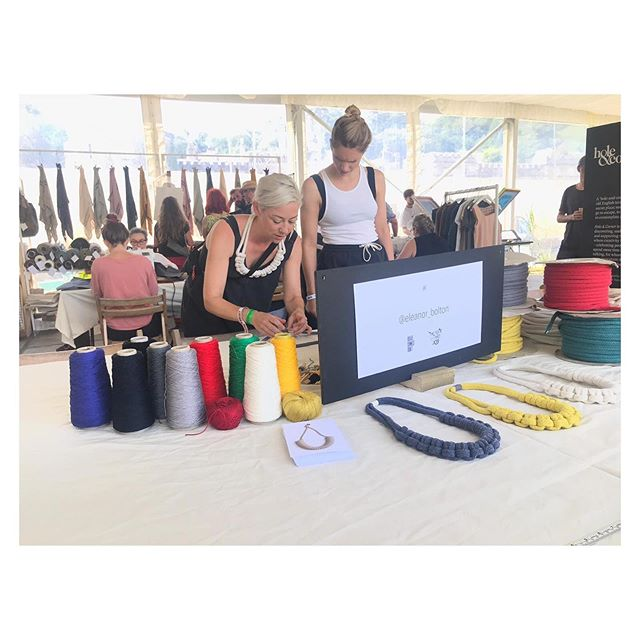 Another fantastic weekend @porteliotfestival with @holeandcorner teaching our knotted necklace workshop ➰✂️➰ Thanks so much for having us again, so sad it's the last one 😭~ Thank you to all those who came and made necklaces with us and big shout out to my brilliant assistant @holliewilmot 🙌🏼