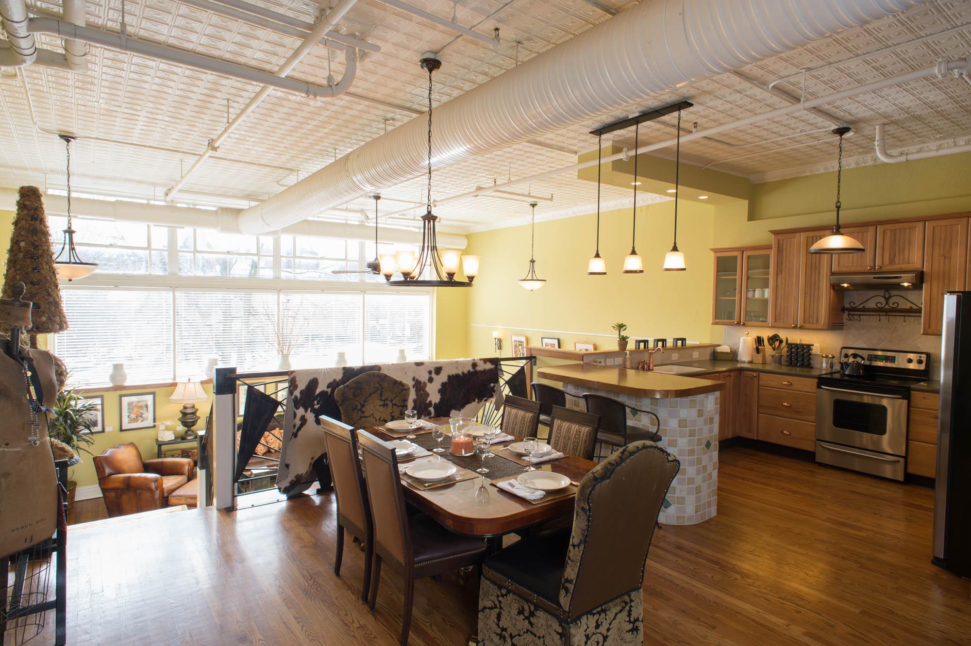 Dining Room/Kitchen Overlooking Living Room