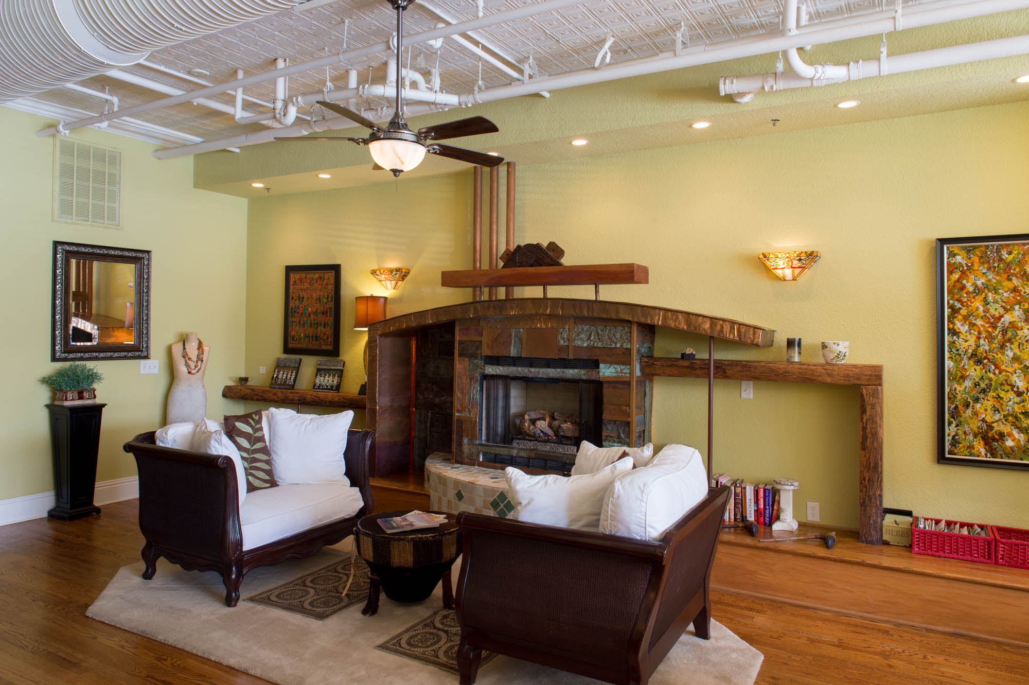 Den with Fireplace - Open to Dining Room, Kitchen and Living Room