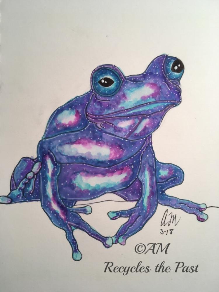 Galaxy Frog    Artist : Amy Meko  Instagram :  @recyclesthepast_art   Twitter :  @amphoto_art   Email : sketchmeko101@gmail.com