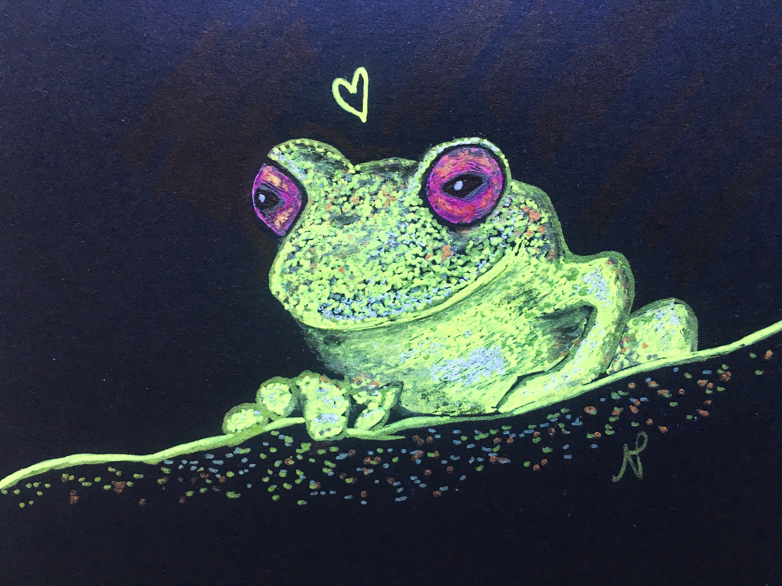 Mossy Red-eyed Frog (Duellmanohyla soralia)    Artist : Nicoletta Powers  Instagram :  @nicolettapowers   Facebook :  https://www.facebook.com/profile.php?id=100010227495549