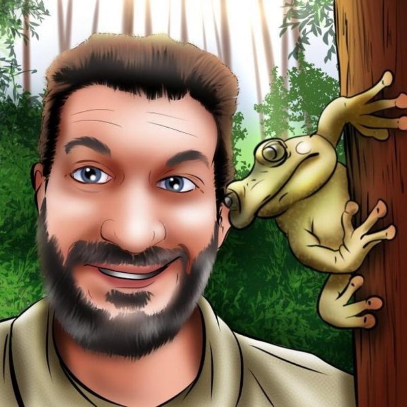 Jonathan Kolby & the Exquisite Spike-thumb frog    Artist : Charlie Pendergraft  Instagram :  @cartooncourier   Website :  https://charlietheillustrator.com