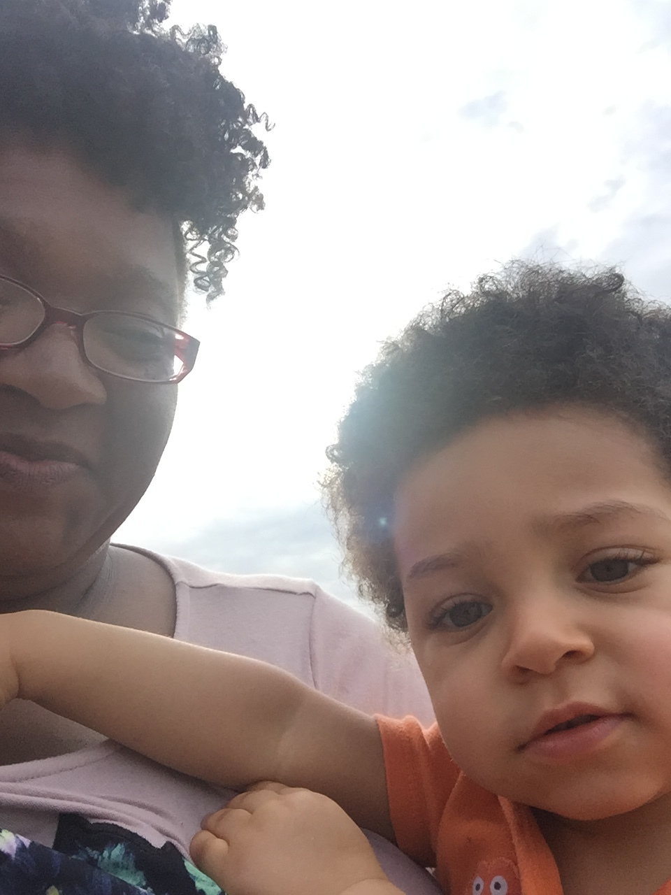 'Baby Brother' Caiden takes a selfie with Mimi